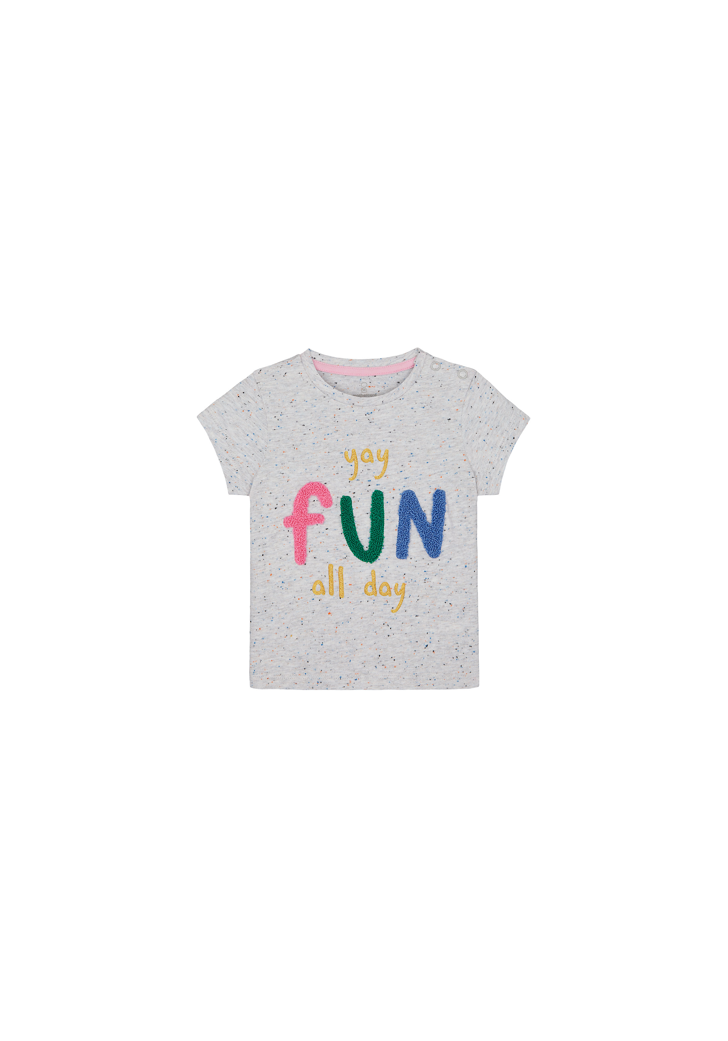 Mothercare | Girls Half Sleeves T-Shirt Text Patchwork - Grey