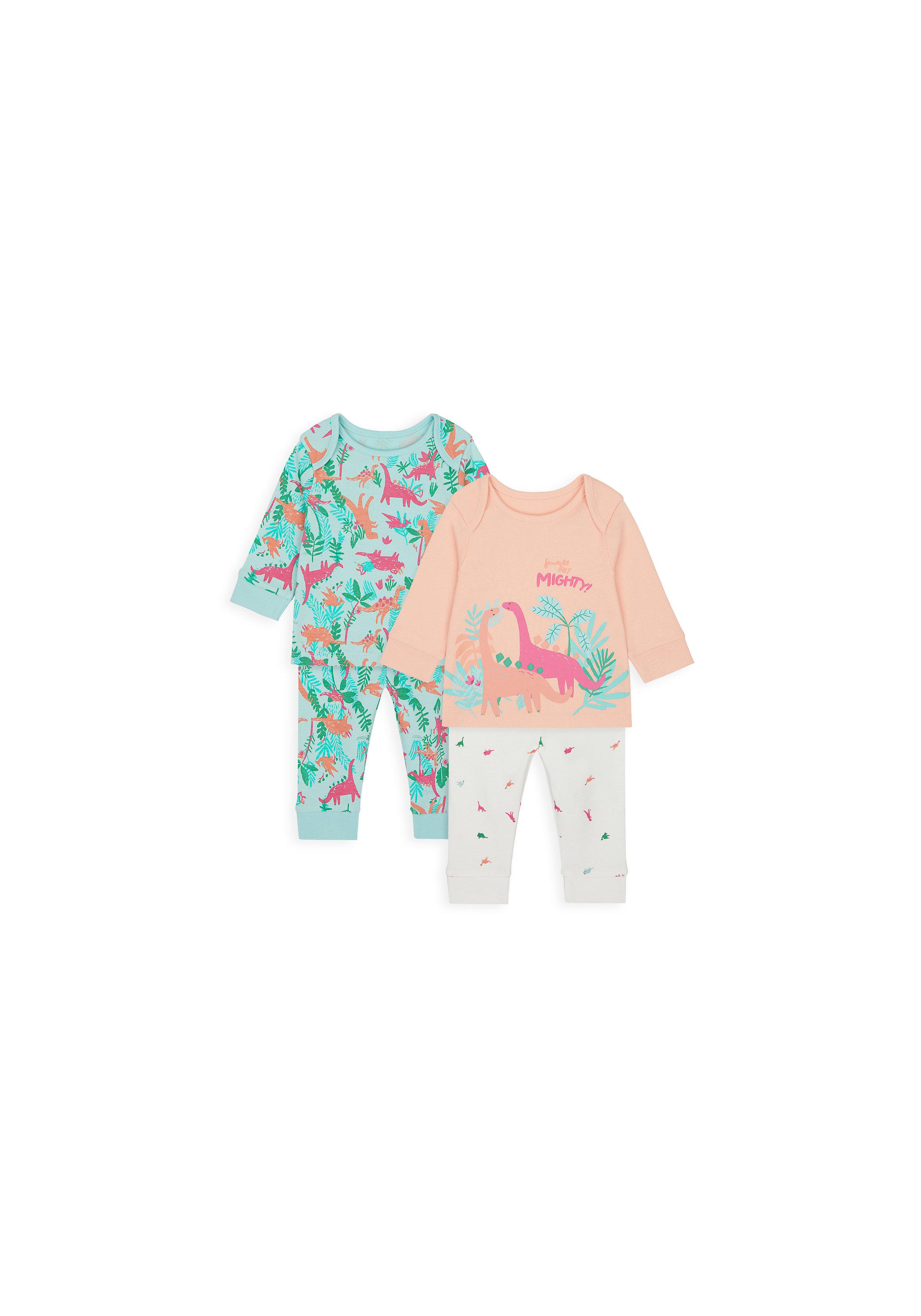 Mothercare | Girls Full Sleeves Pyjama Set Dino Print - Pack Of 2 - Multicolor