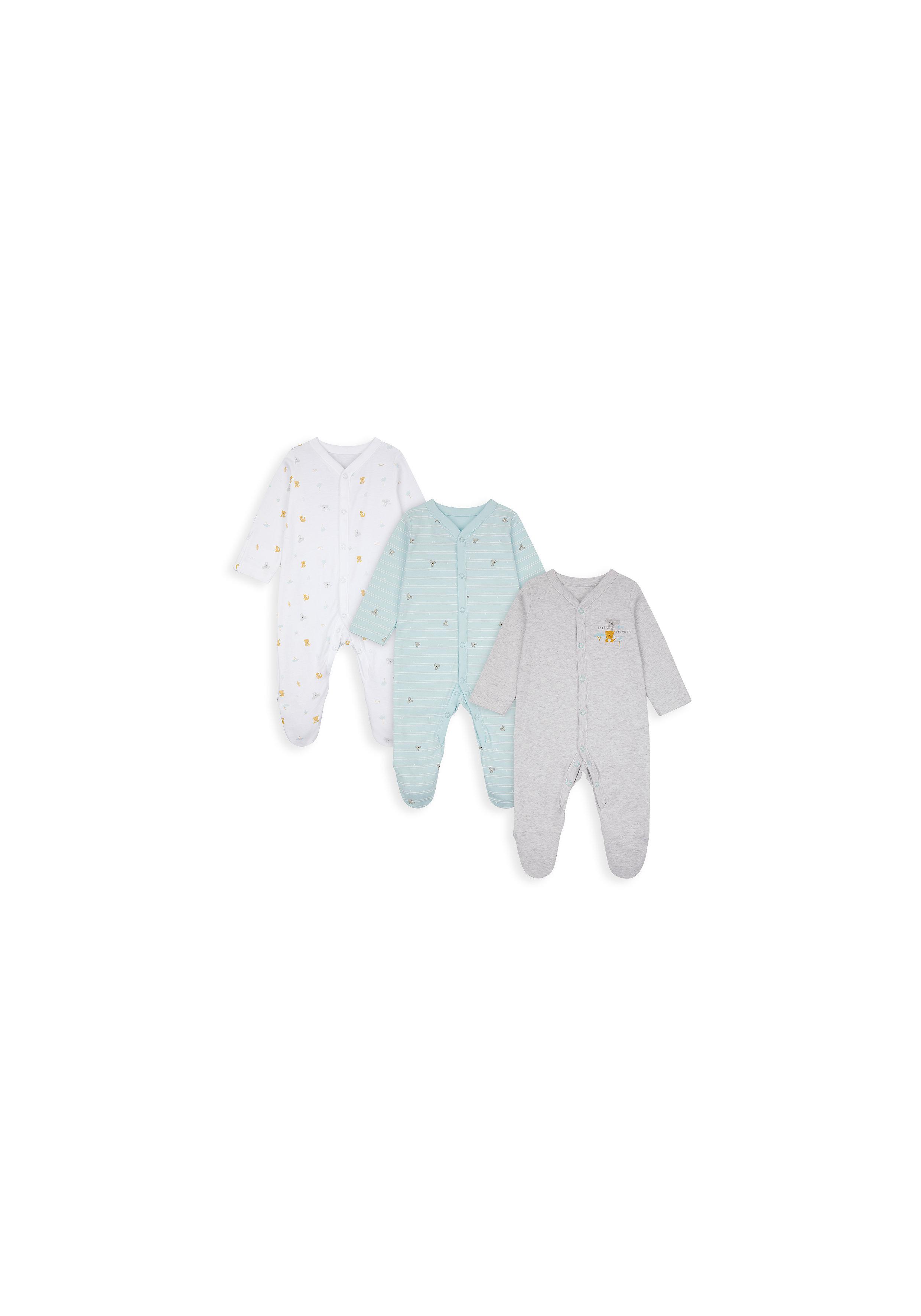 Mothercare | Unisex Full Sleeves Sleepsuit Koala Print - Pack Of 3 - Multicolor