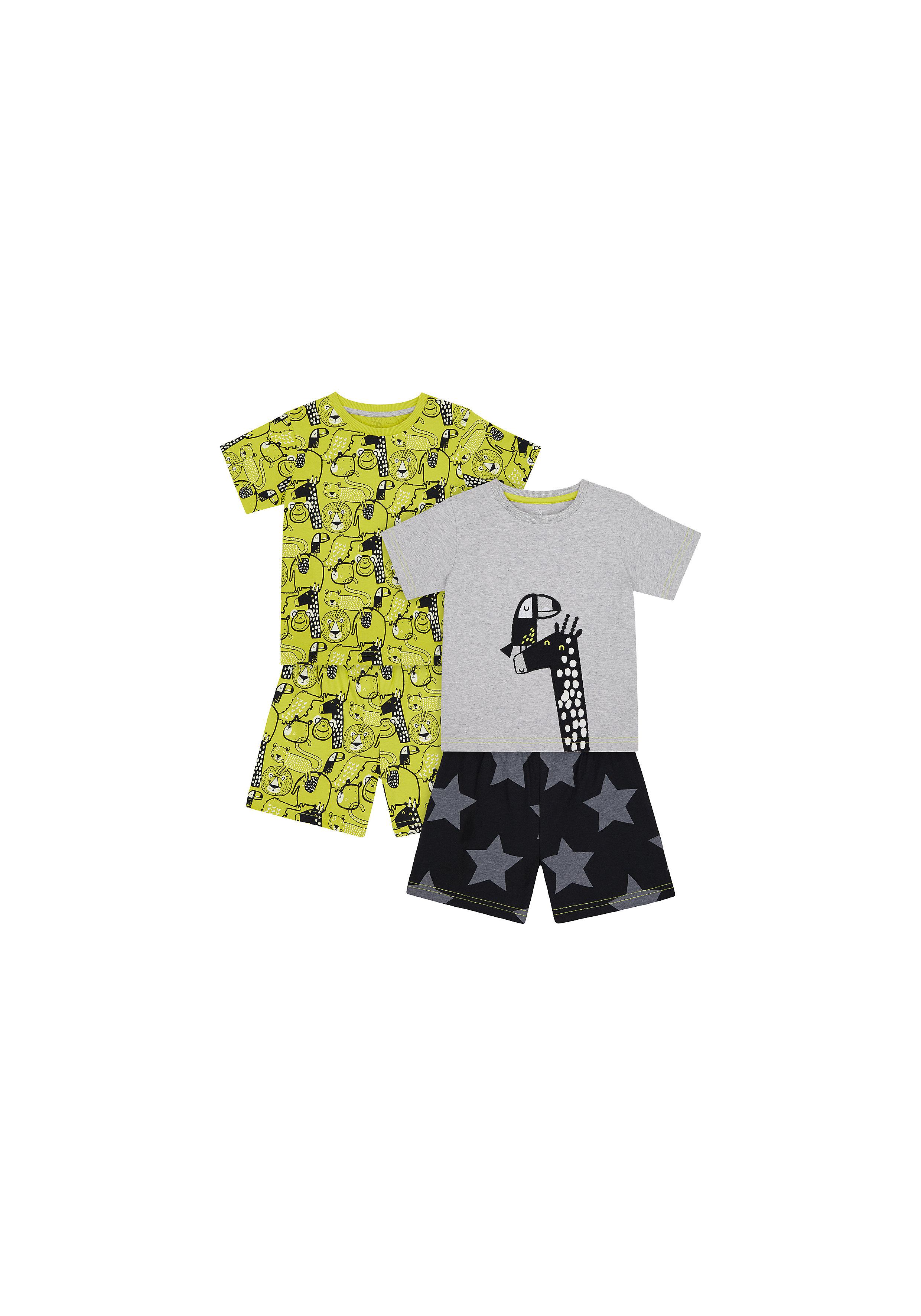 Mothercare | Boys Half Sleeves Shortie Pyjama Set Giraffe Embroidery - Yellow Grey
