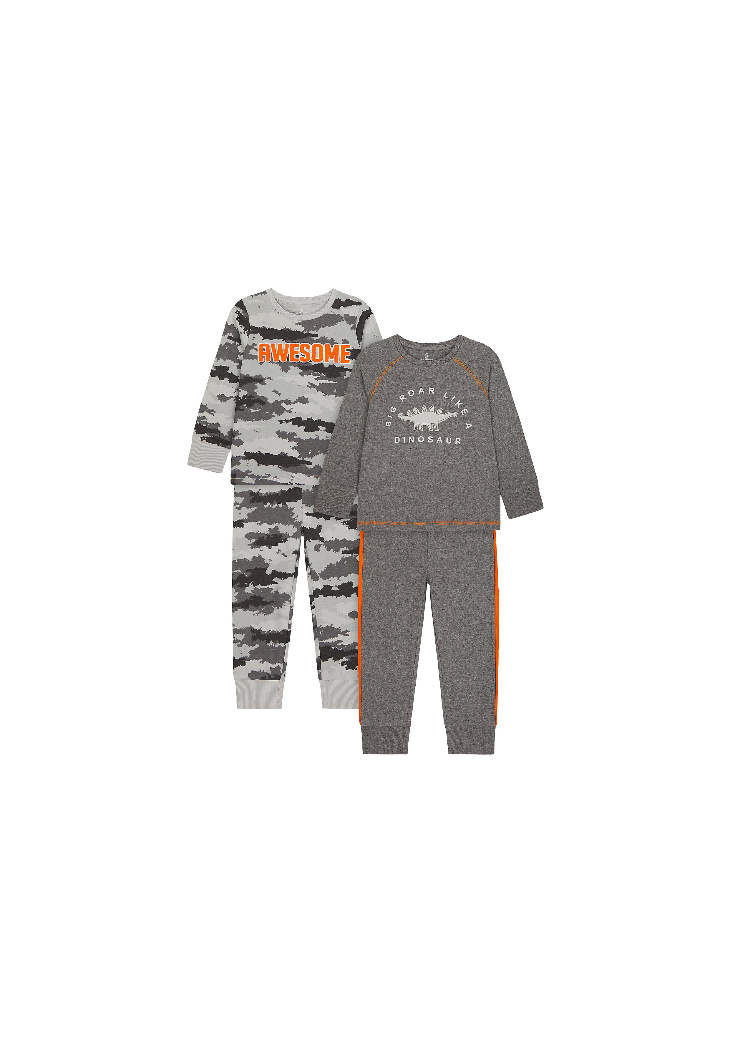 Mothercare   Boys Full Sleeves Pyjama Set Text Print And Embroidery - Pack Of 2 - Grey