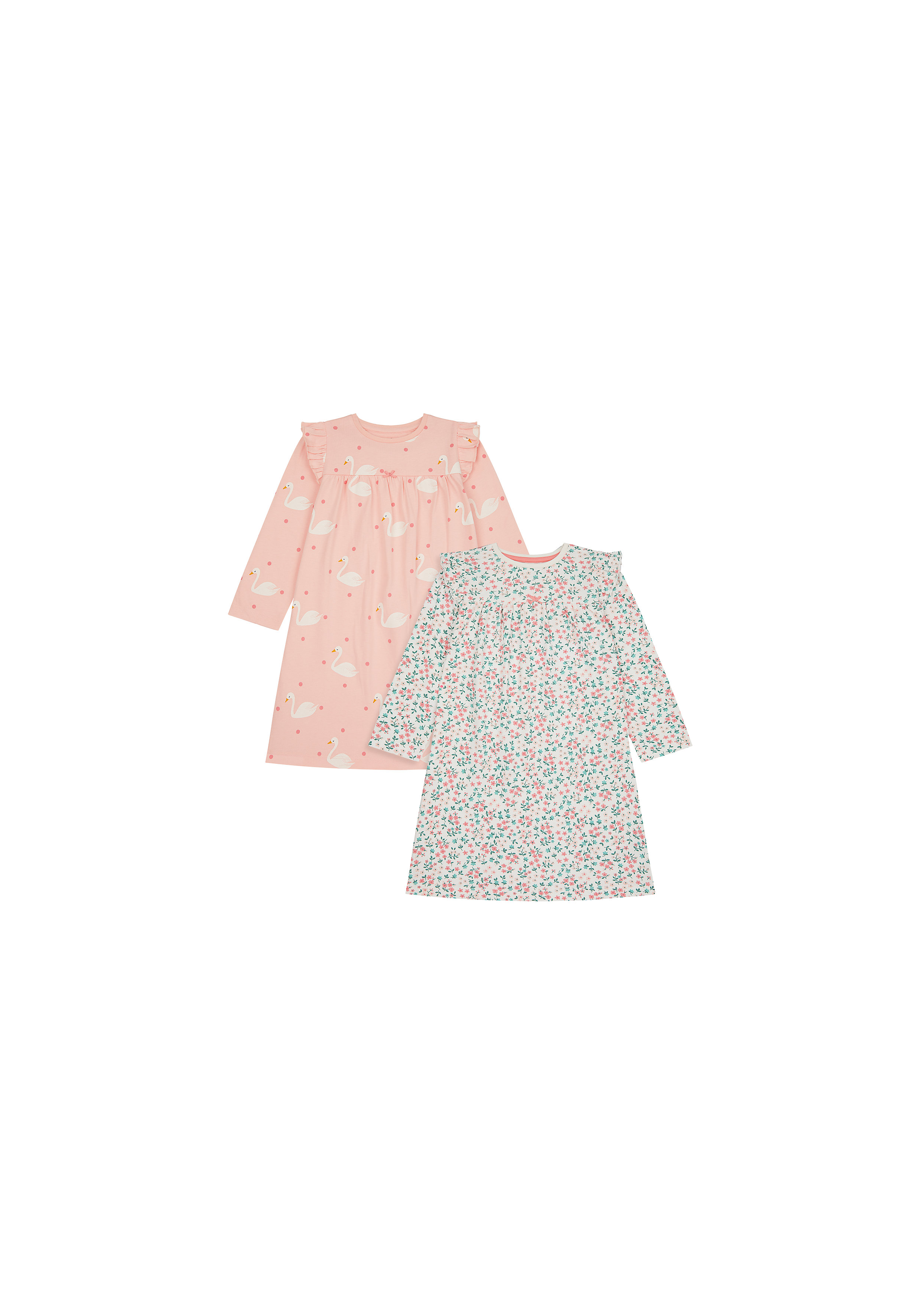 Mothercare | Girls Full Sleeves Nightdress Floral And Swan Print - Pack Of 2 - Pink White