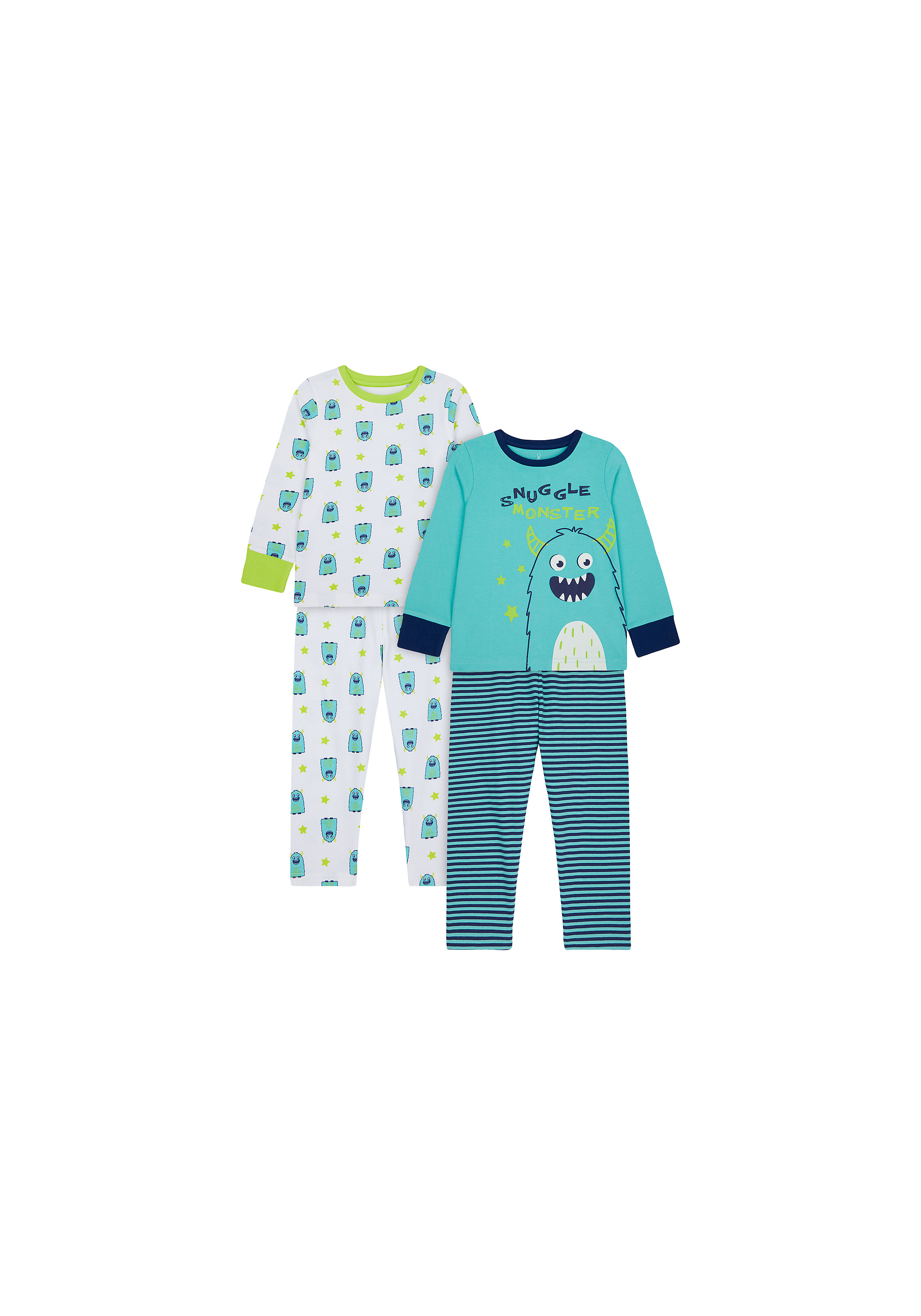 Mothercare | Boys Full Sleeves Pyjama Set Monster Print - Pack Of 2 - Blue White