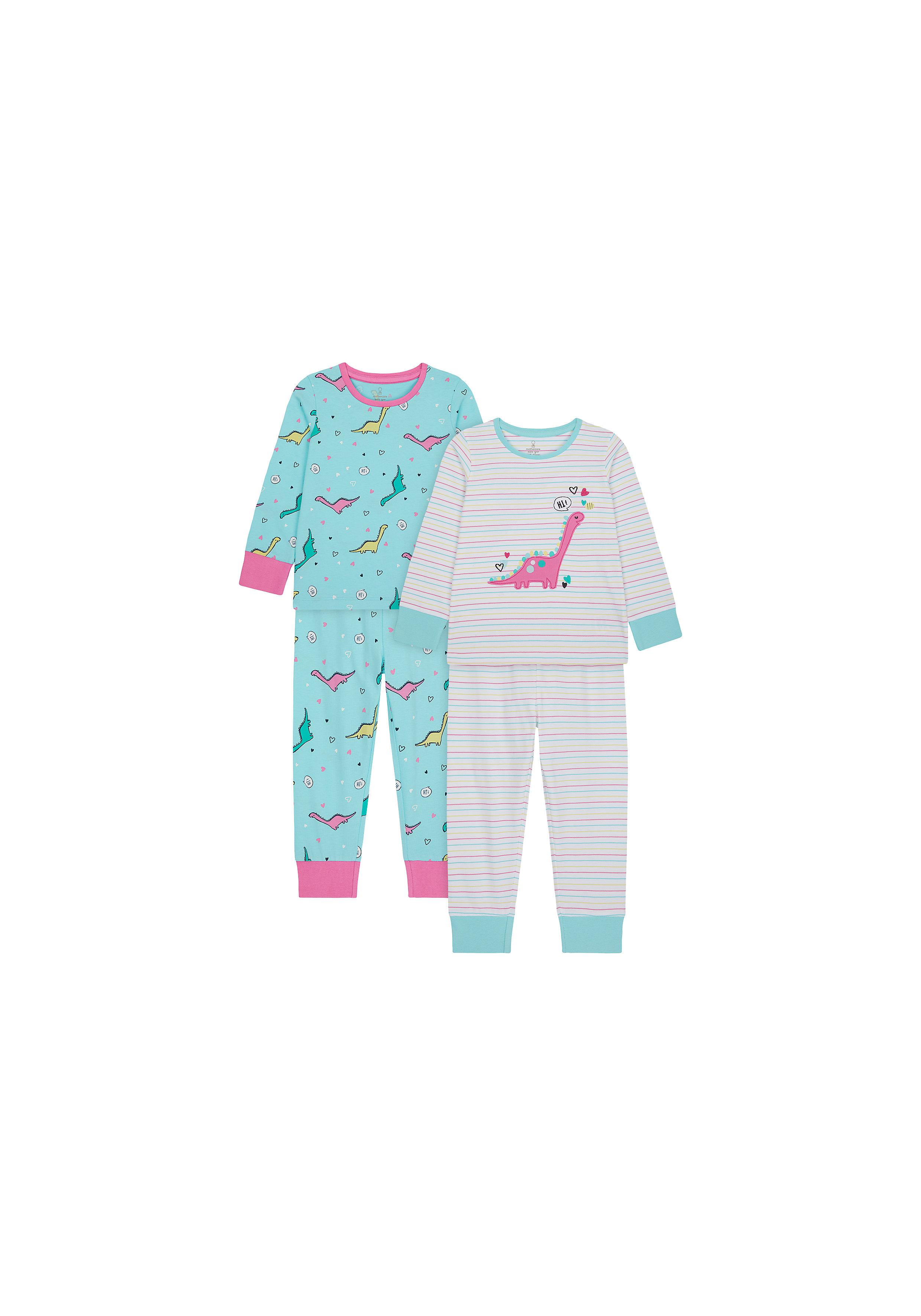 Mothercare | Girls Full Sleeves Pyjama Set Dino Patchwork - Pack Of 2 - Blue White