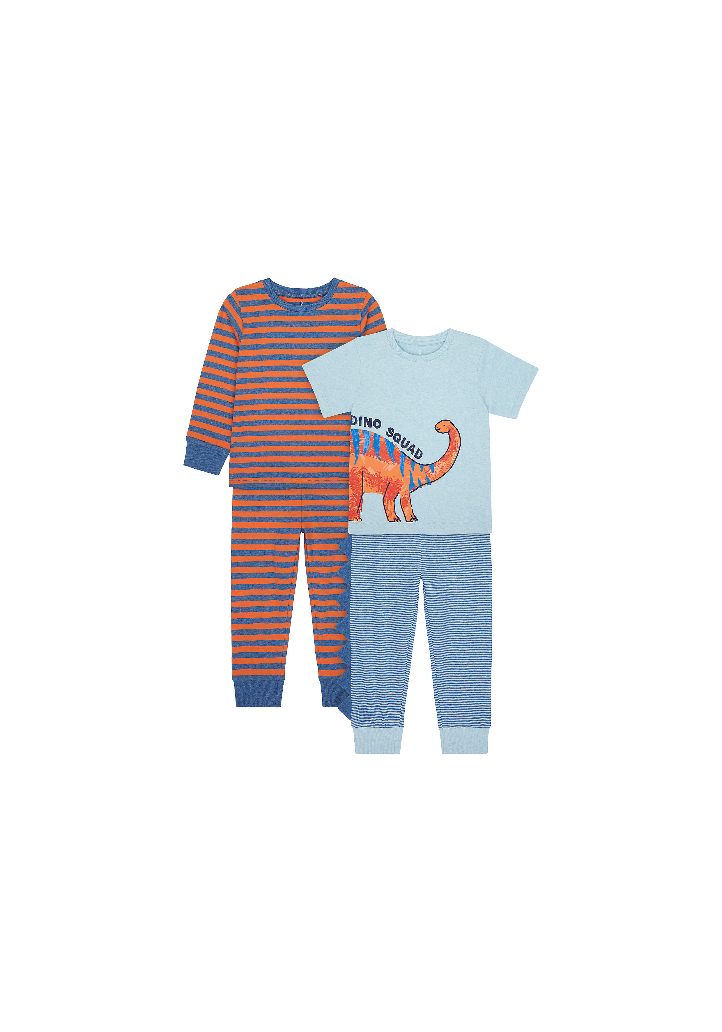 Mothercare | Boys Full Sleeves Pyjama Set 3D Dino Spikes - Pack Of 2 - Blue Red