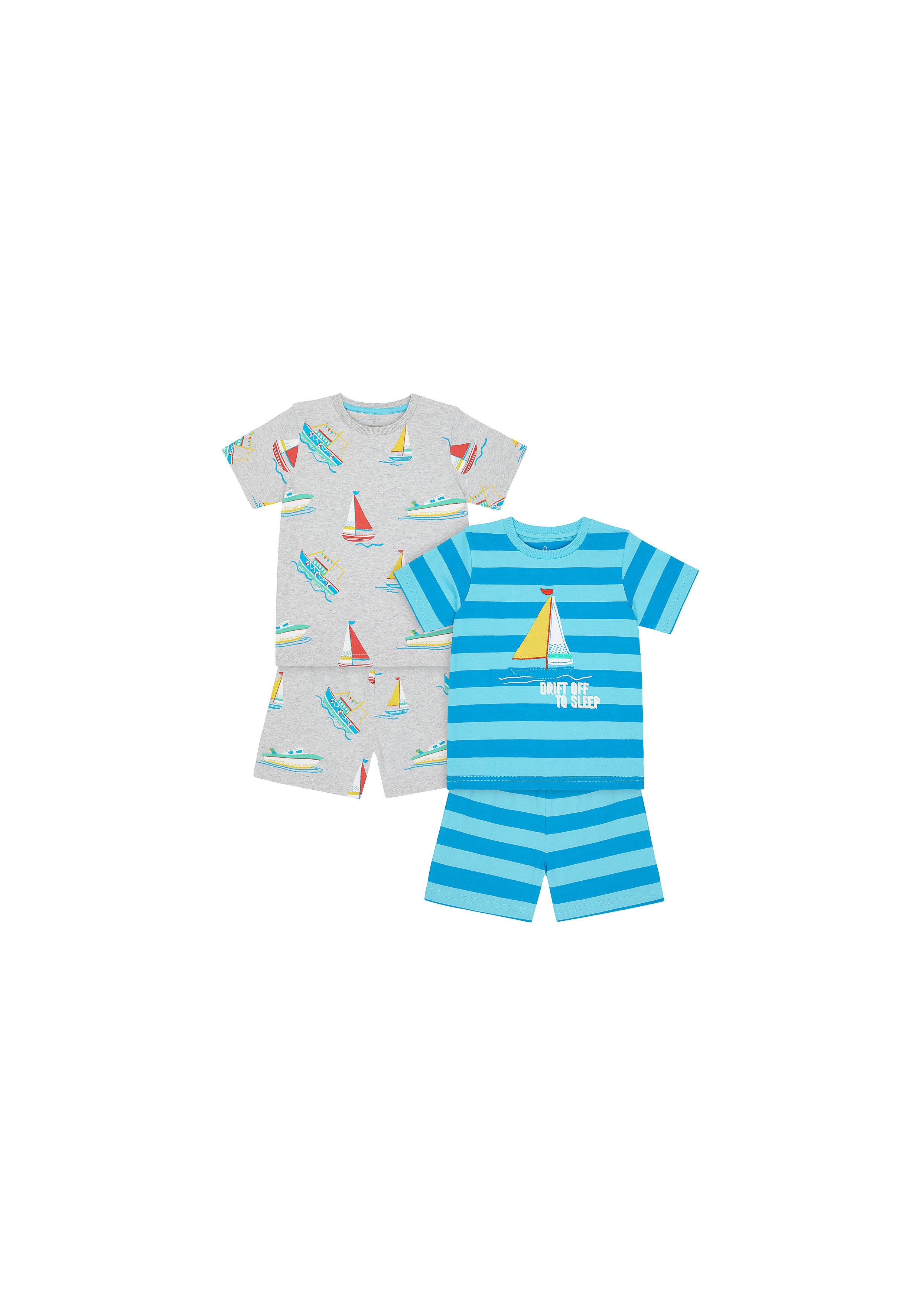 Mothercare | Boys Half Sleeves Shortie Pyjama Set Stripe And Boat Print - Pack Of 2 - Blue Grey