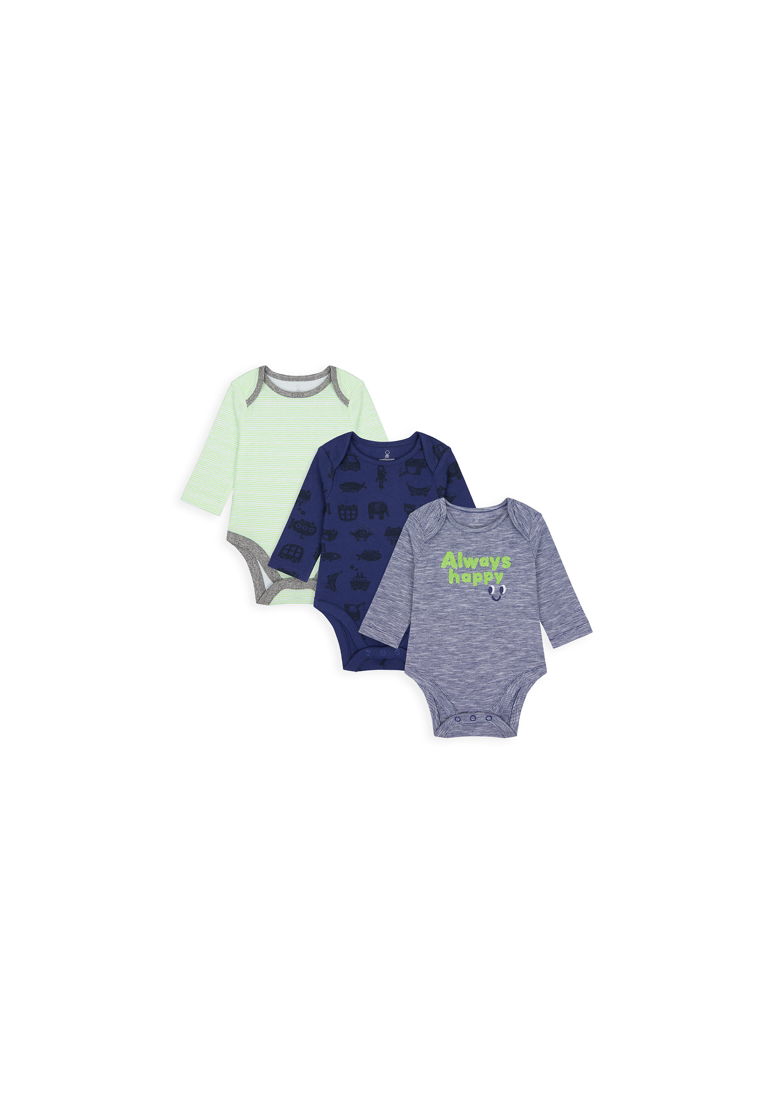 Mothercare | Boys Full Sleeves Bodysuit Text Patchwork - Pack Of 3 - Multicolor