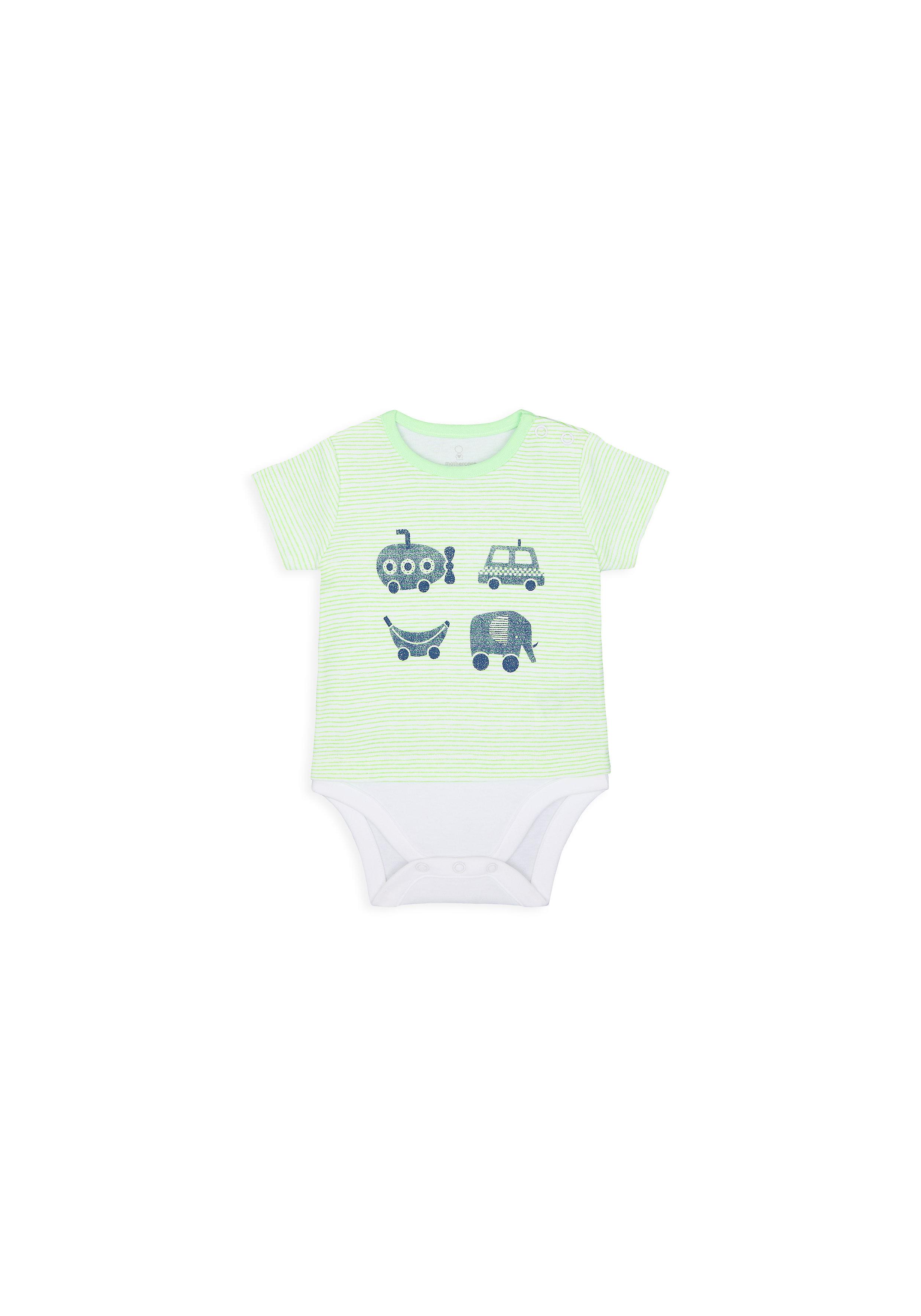 Mothercare   Boys Half Sleeves Mock Bodysuit Car Print - Green