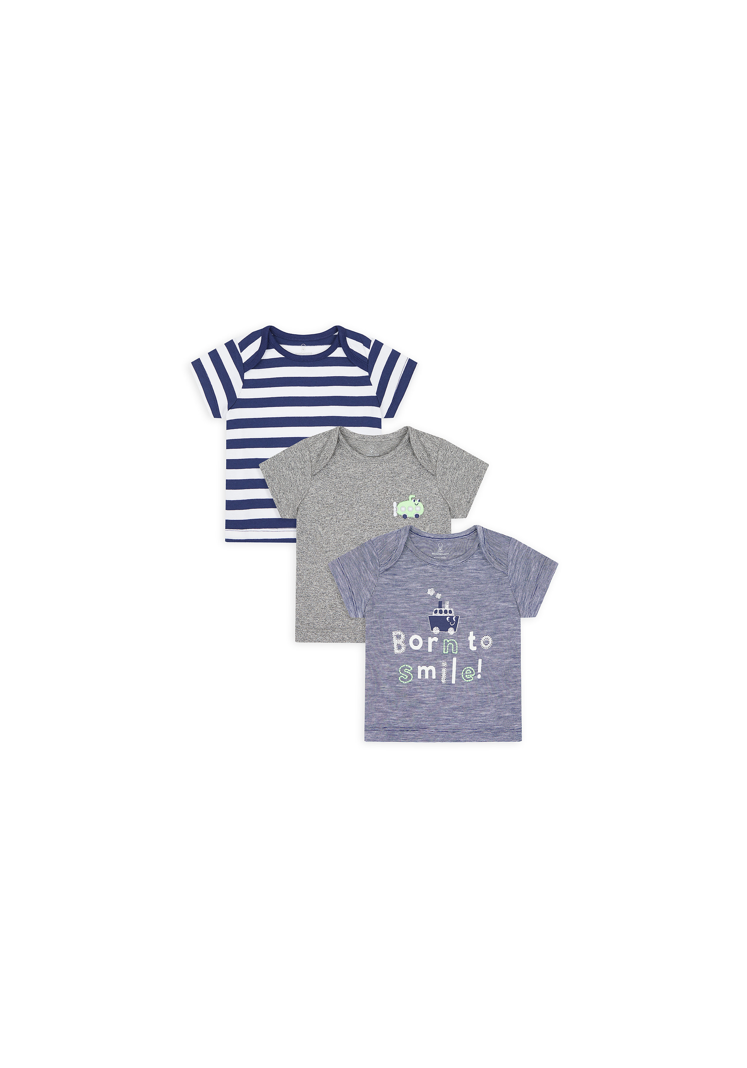 Mothercare | Boys Half Sleeves T-Shirt Striped And Embroidered - Pack Of 3 - Multicolor