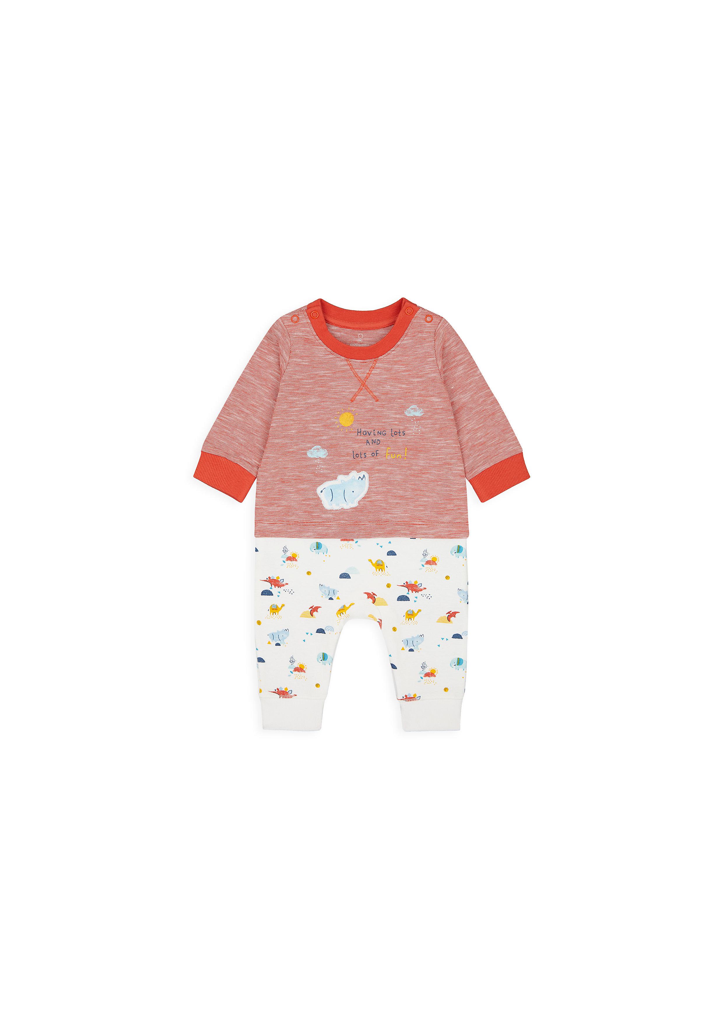 Mothercare   Boys Full Sleeves Mock Romper Animal Print - Red