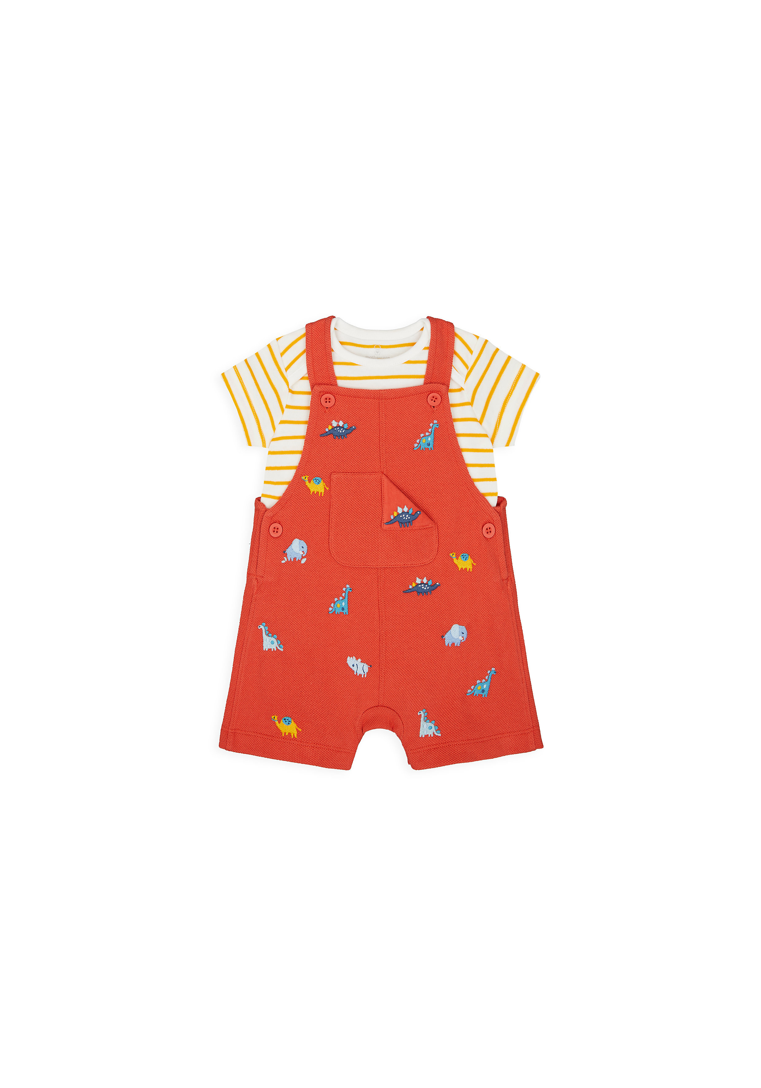 Mothercare | Boys Half Sleeves Dungaree Set Dino Embroidery - Red
