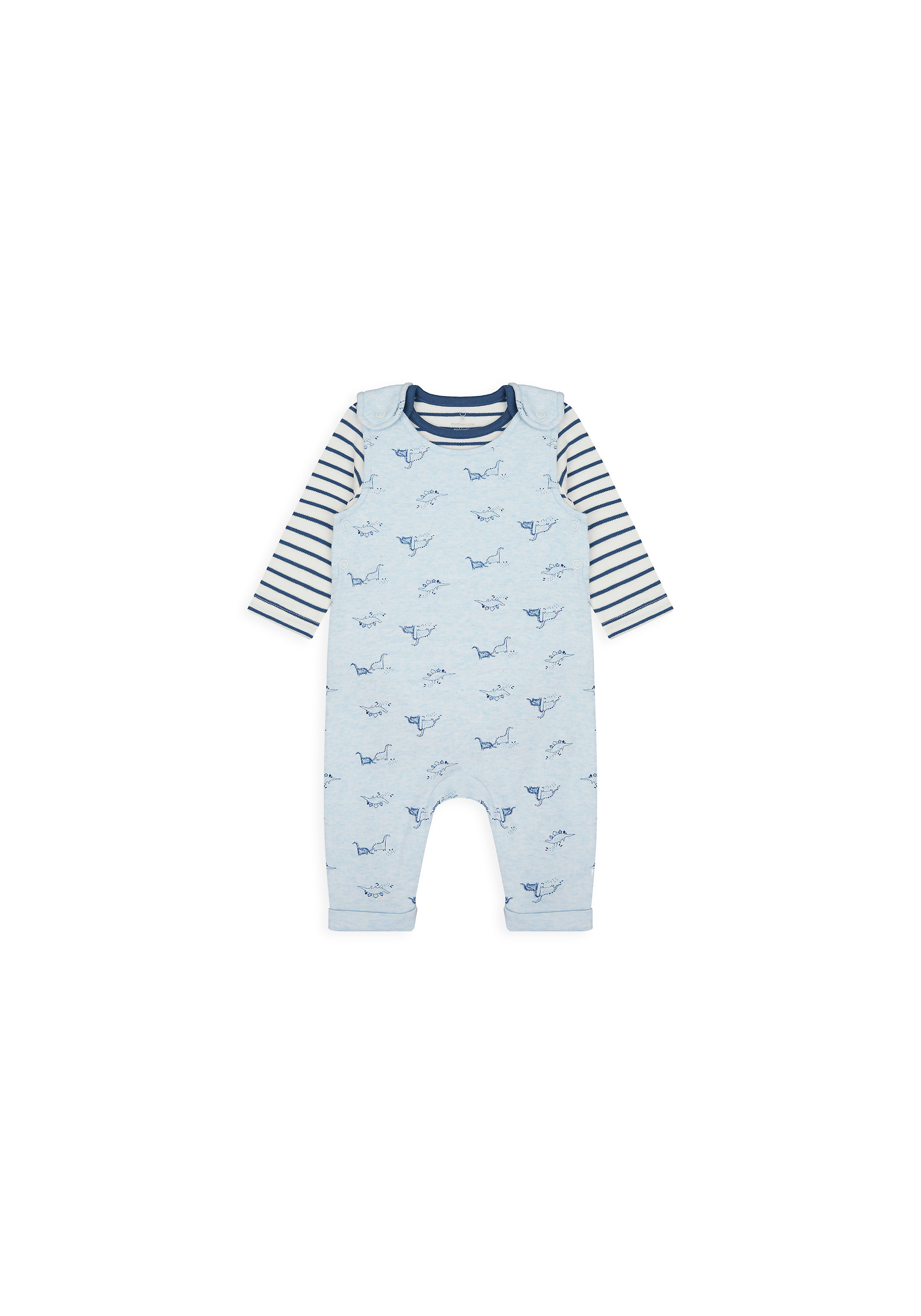 Mothercare | Boys Full Sleeves Dungaree Set Striped And Dino Print - Blue