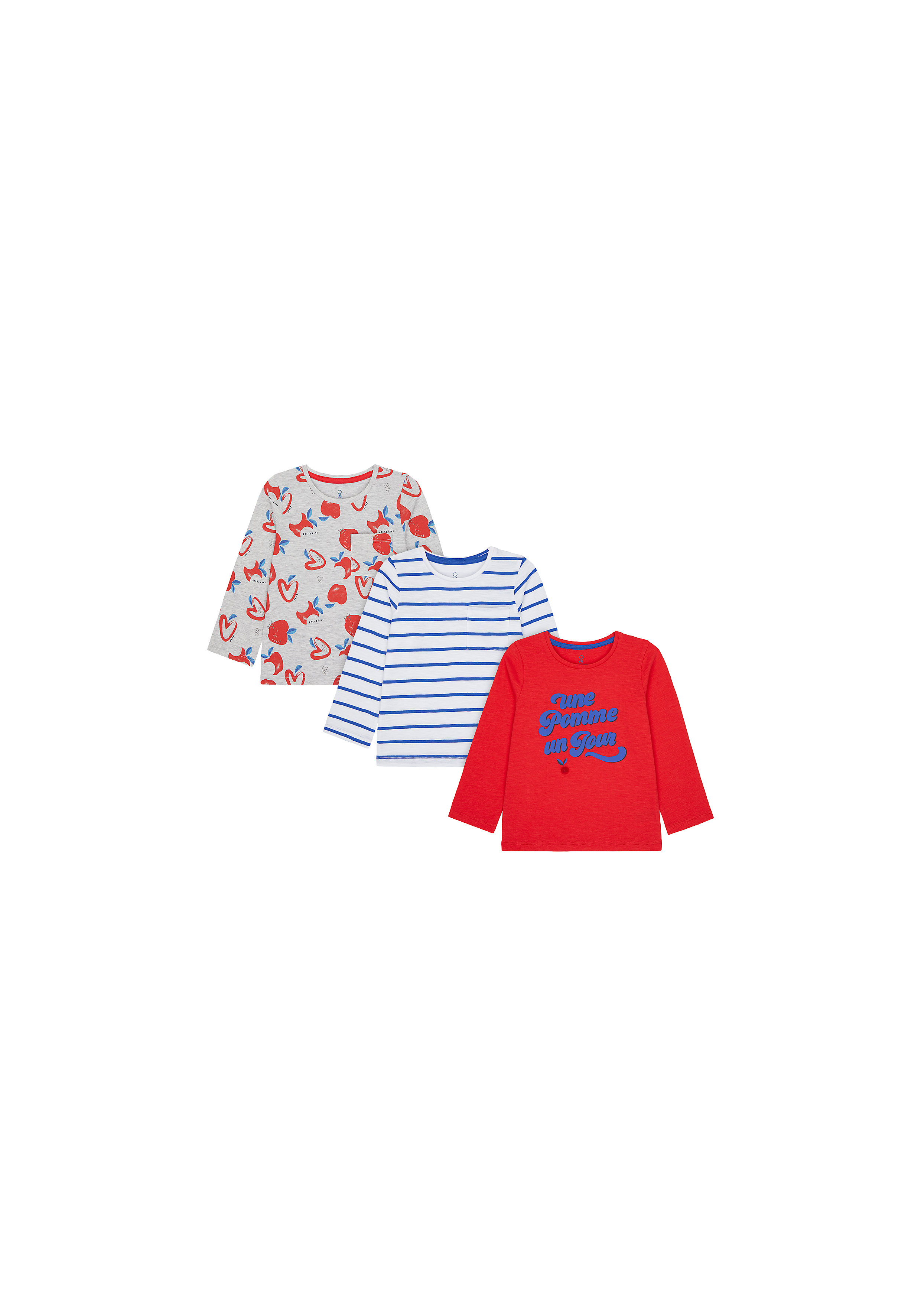 Mothercare | Girls Full Sleeves T-Shirt Stripe And Apple Print - Pack Of 3 - Multicolor