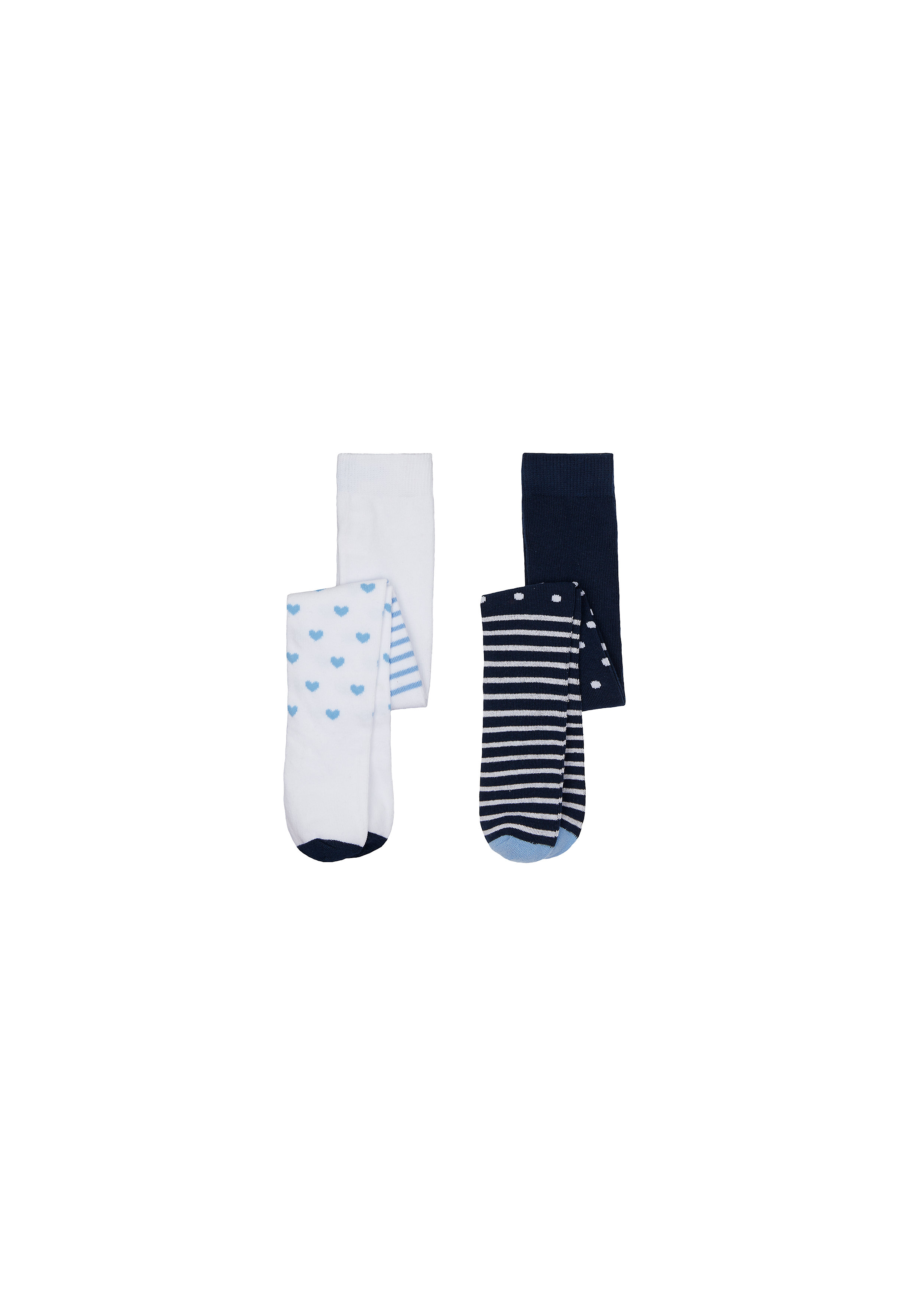 Mothercare | Girls Tights Stripe And Heart Design - Pack Of 2 - Multicolor
