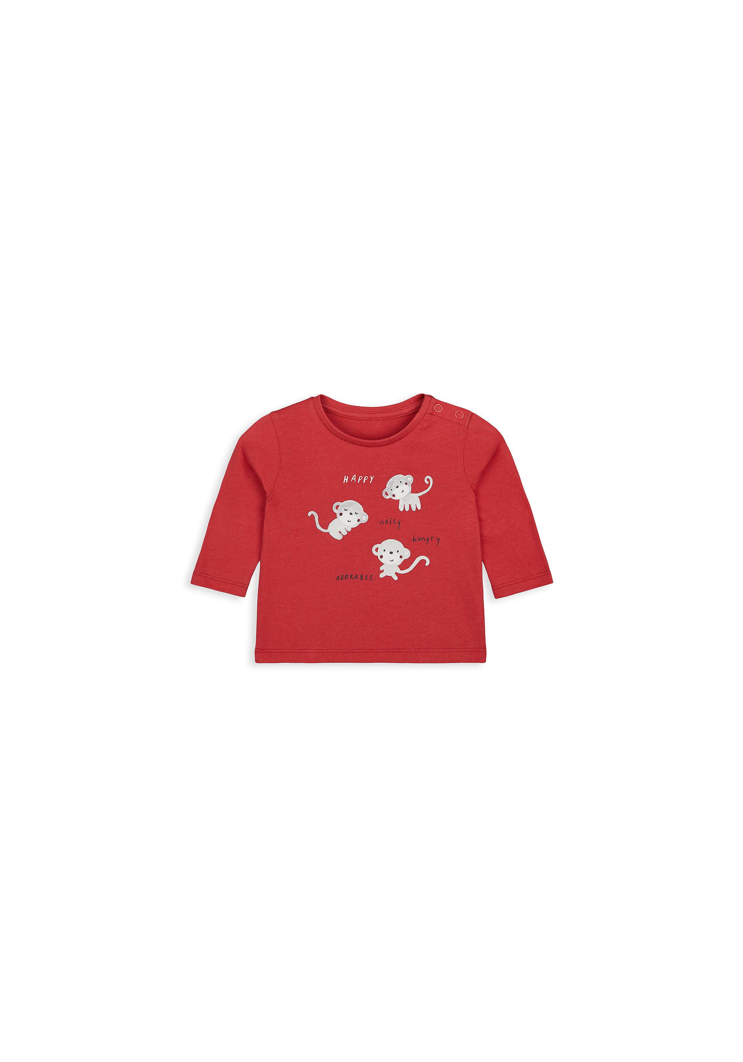 Mothercare   Boys Full Sleeves T-Shirt Monkey Print - Red