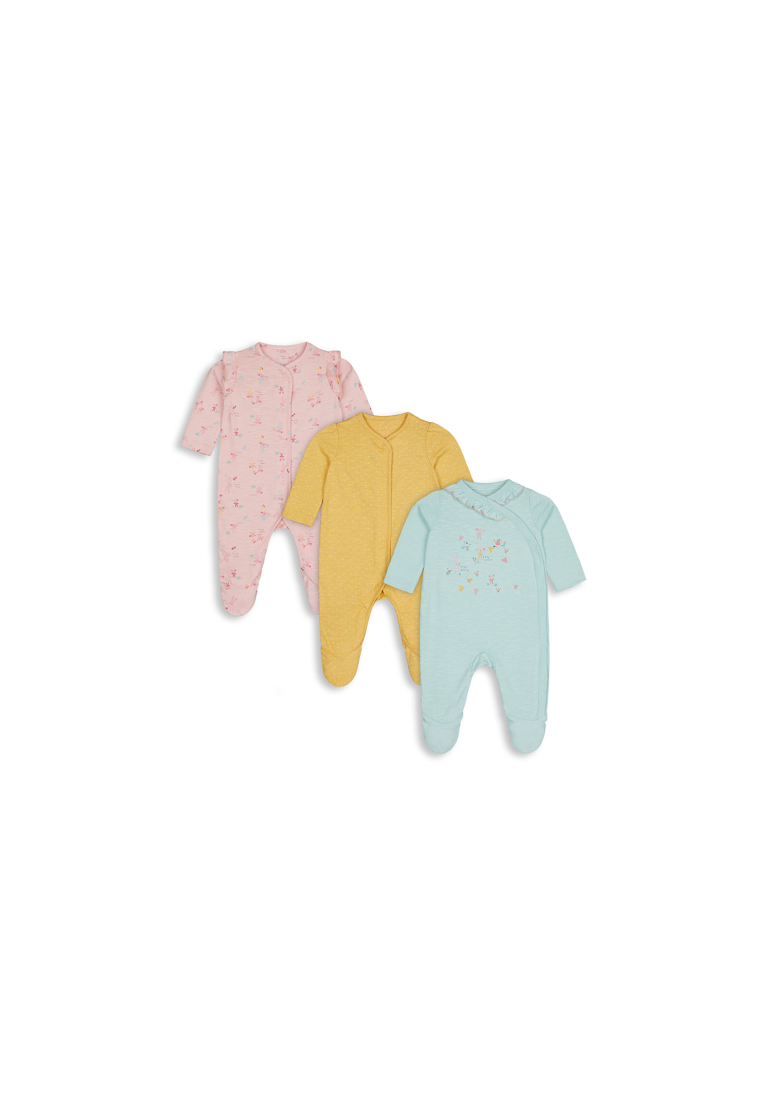 Mothercare | Girls Full Sleeves Sleepsuit Mouse Print And Frill Detail - Pack Of 3 - Multicolor