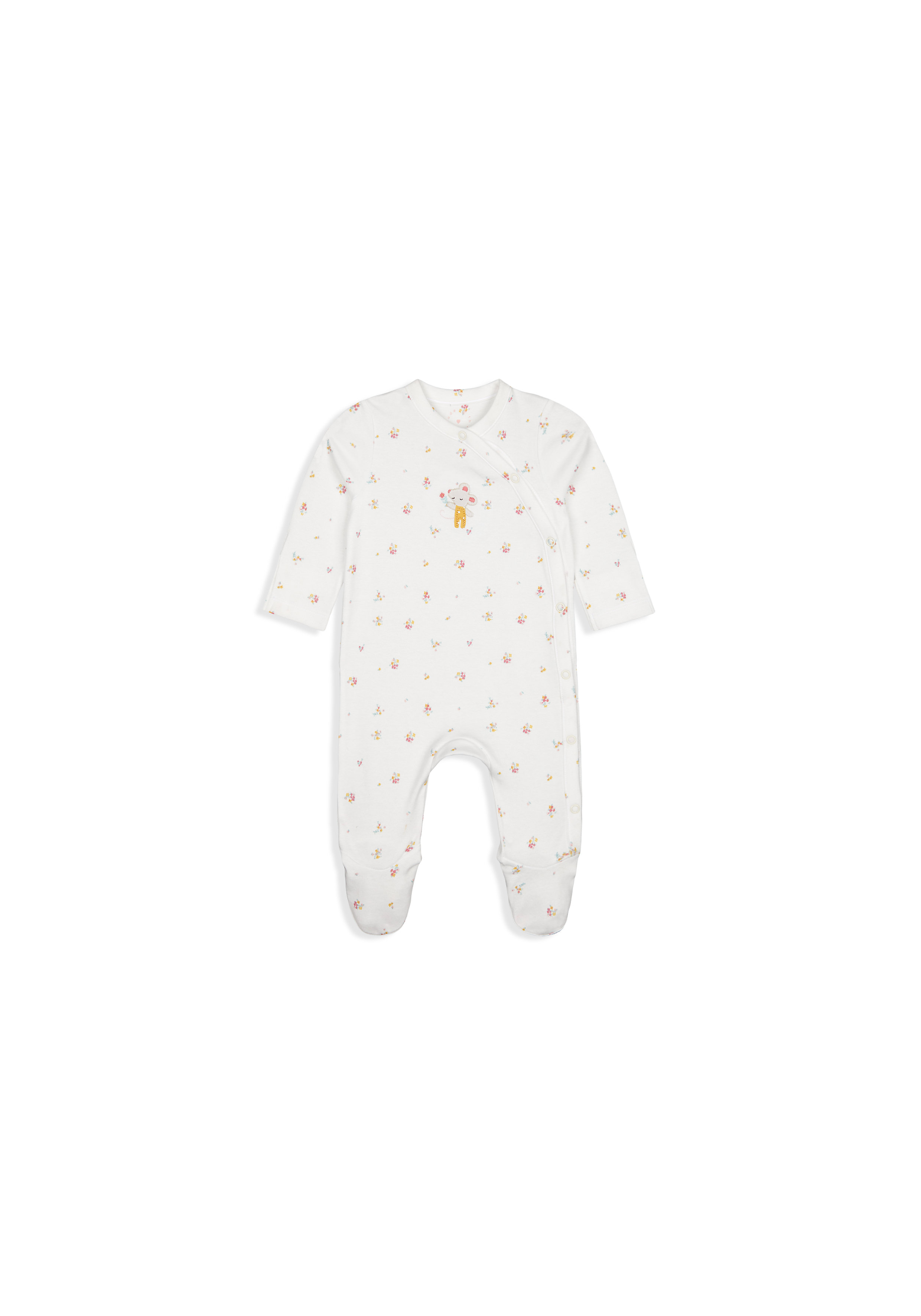 Mothercare | Girls Full Sleeves Romper Mouse Embroidery - White