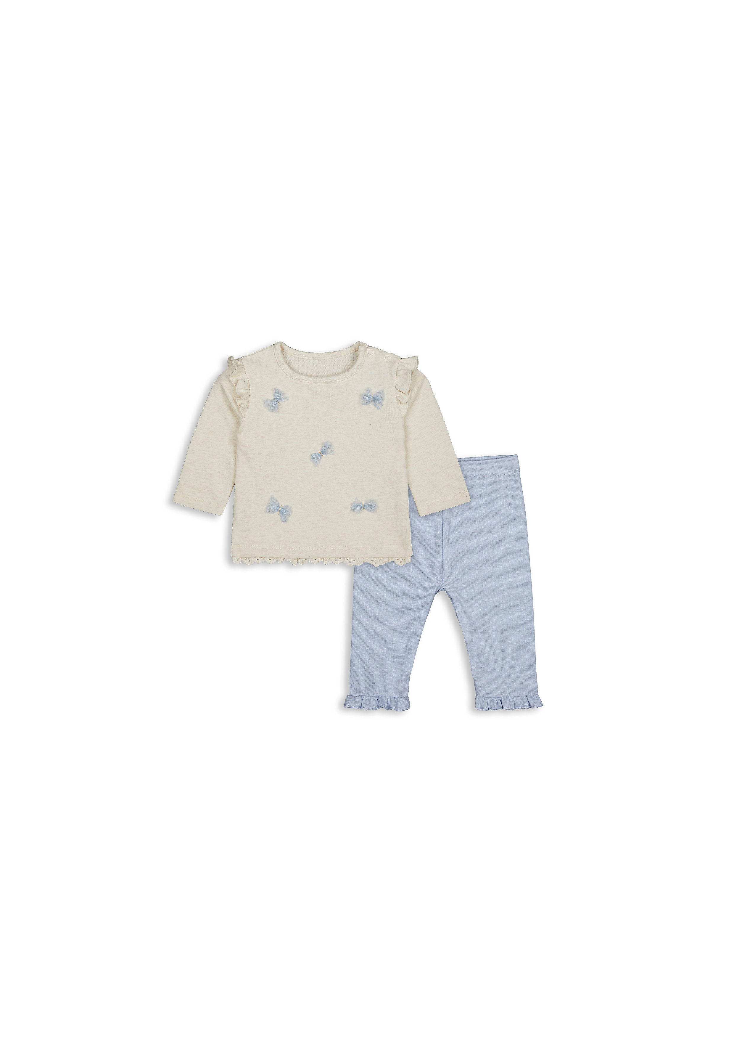 Mothercare | Girls Full Sleeves Top And Legging Set 3D Butterfly Design - Blue