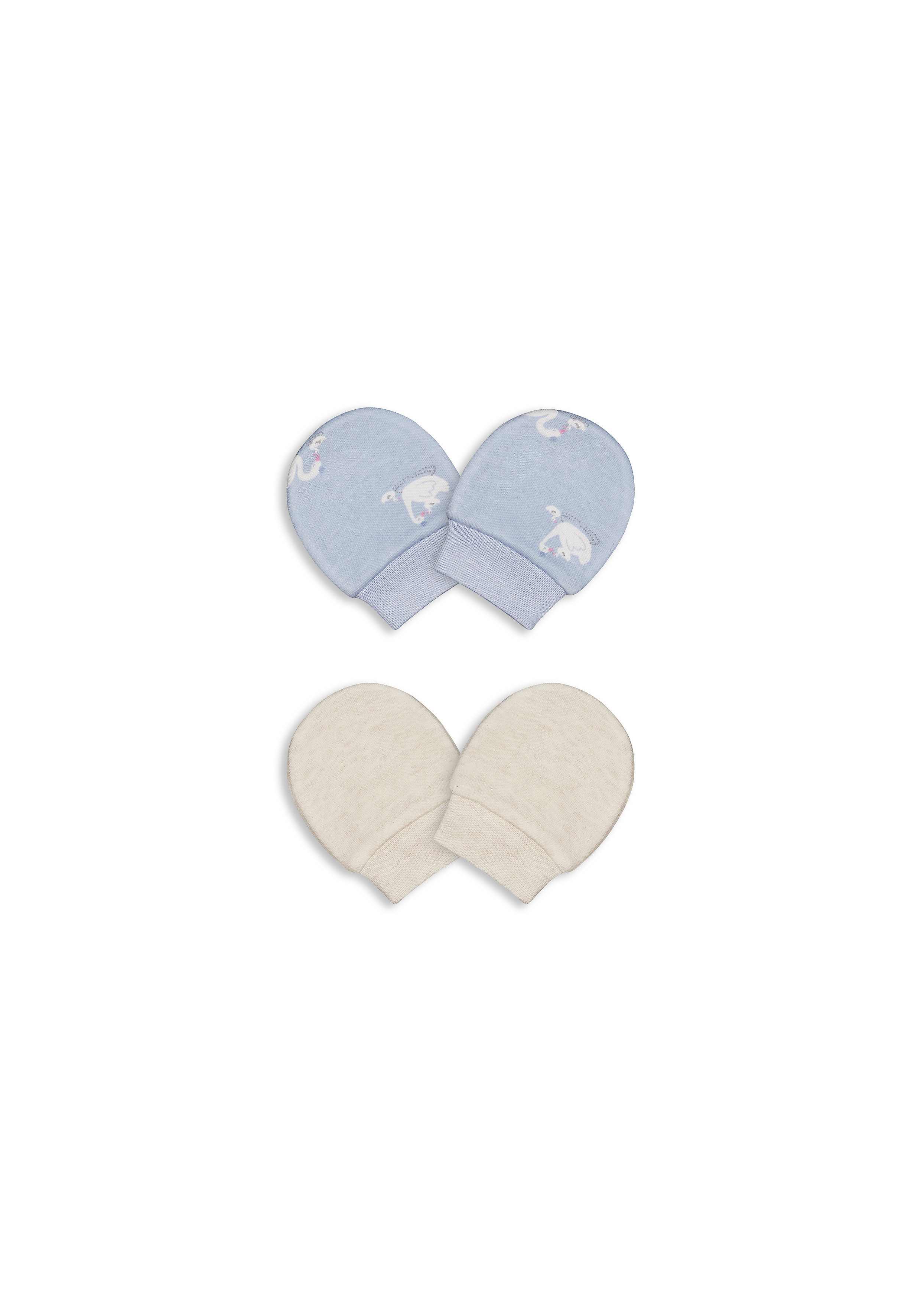 Mothercare | Girls Mitts Swan Print - Pack Of 2 - Multicolor