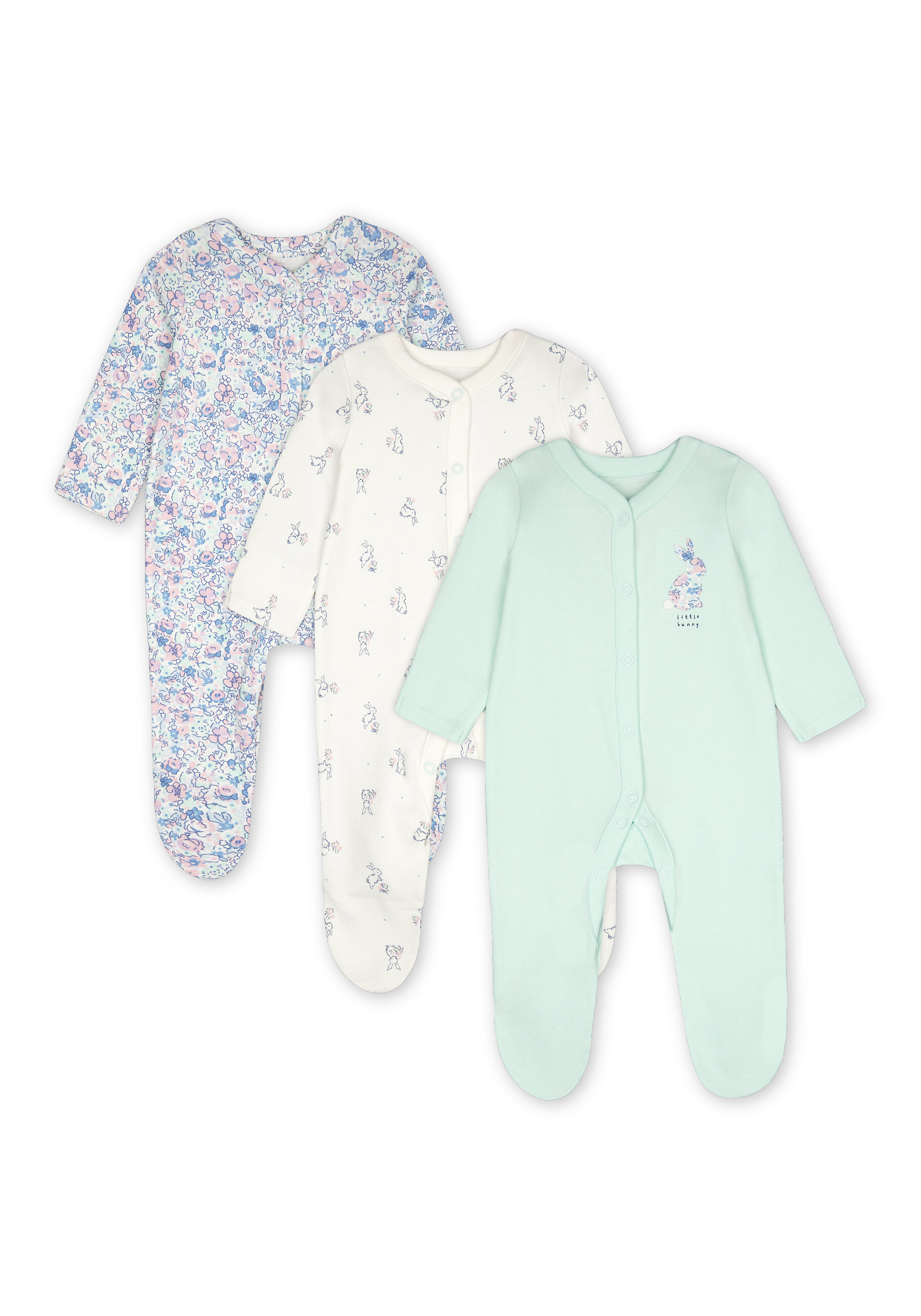 Mothercare | Girls Full Sleeves Sleepsuit Bunny And Floral Print - Pack Of 3 - Blue