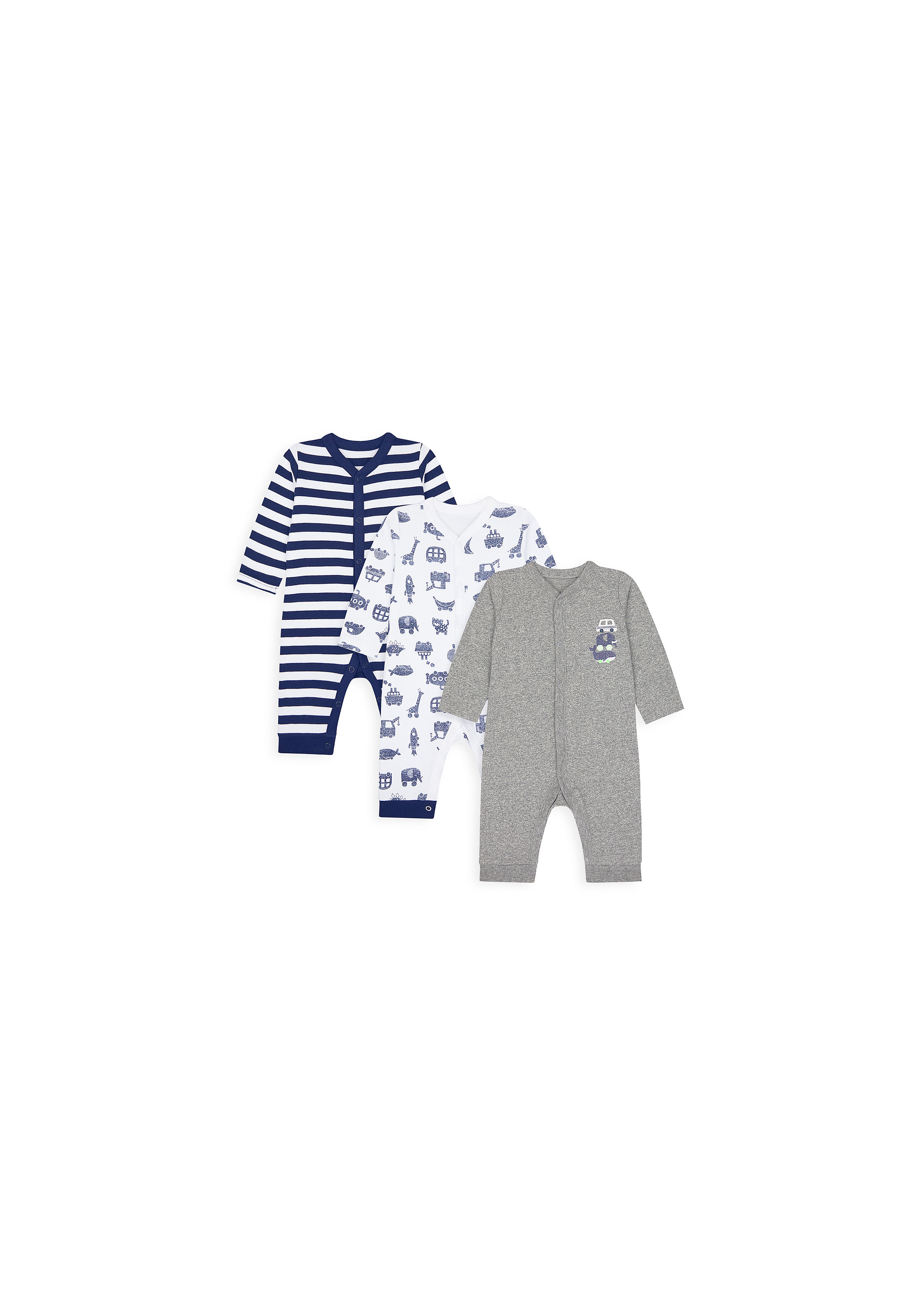 Mothercare | Boys Full Sleeves Sleepsuit Printed And Striped - Pack Of 3 - Multicolor