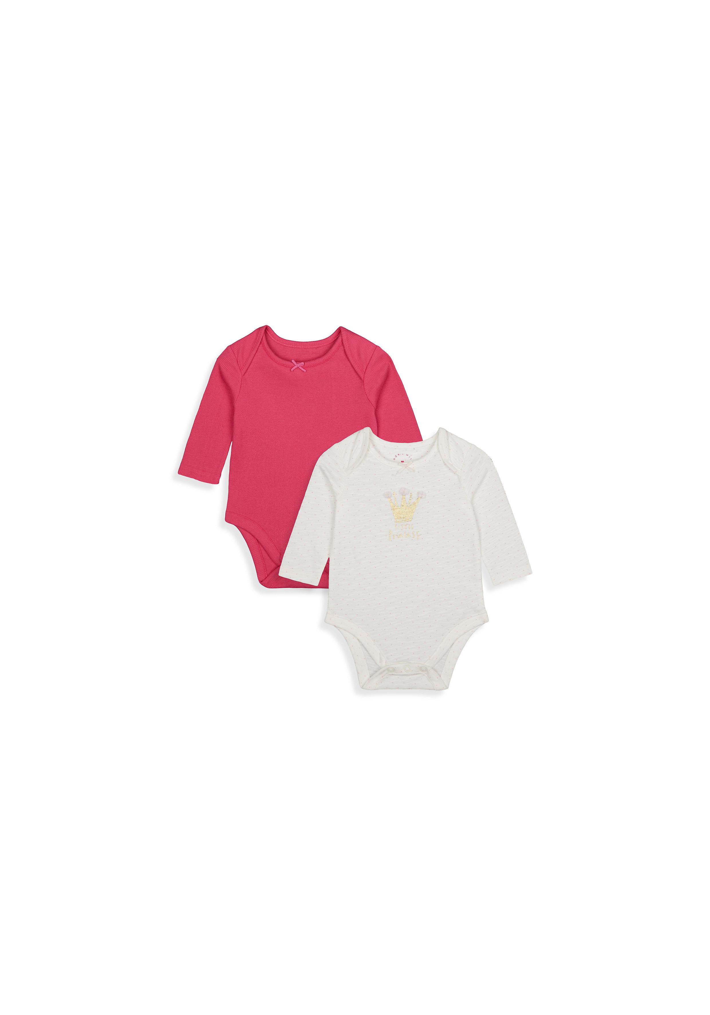 Mothercare | Girls Full Sleeves Bodysuit Glitter Crown Print - Pack Of 2 - Multicolor