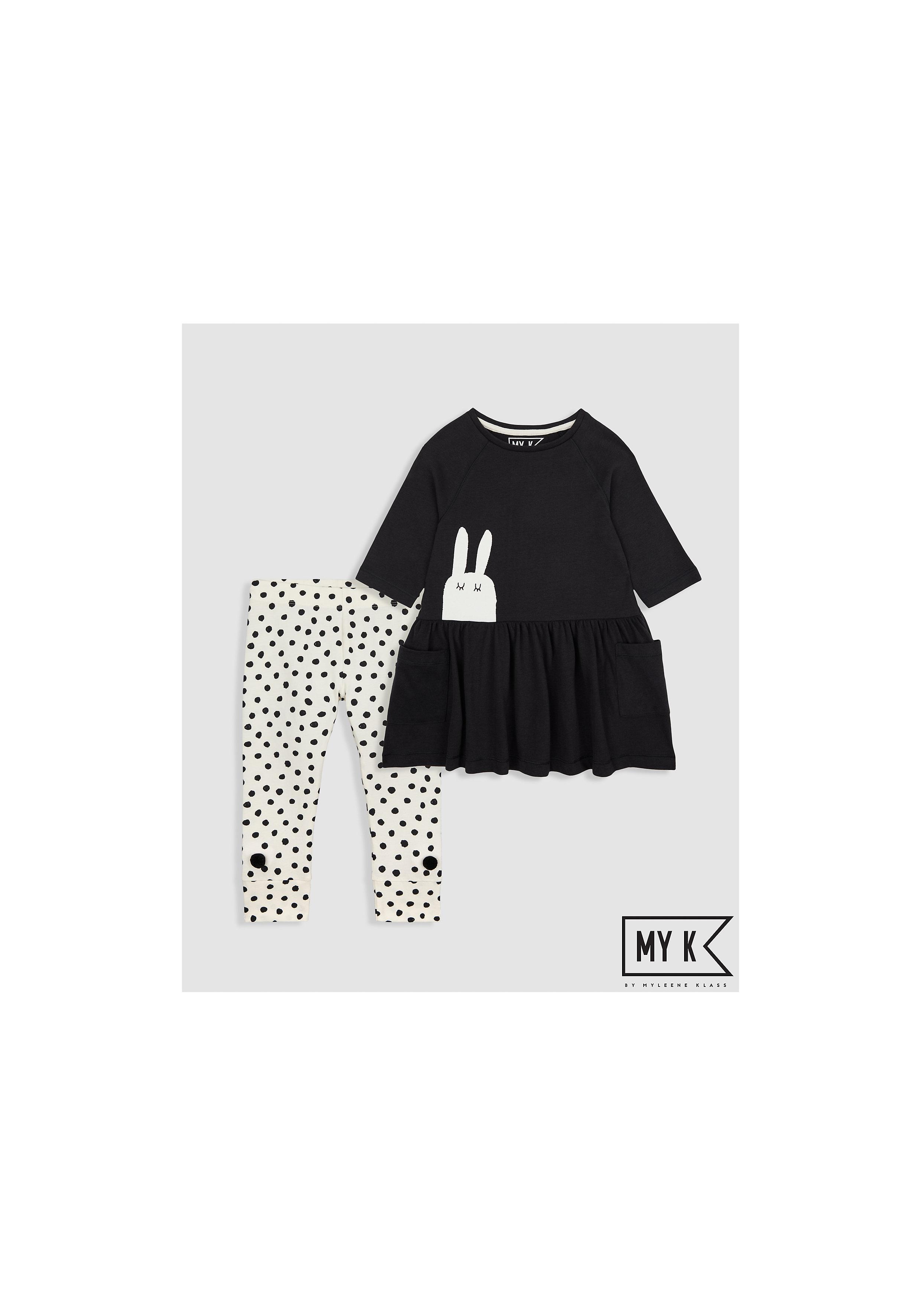 Mothercare | Girls Full Sleeves Dress And Legging Set Bunny Print And Pom Pom Details - Black
