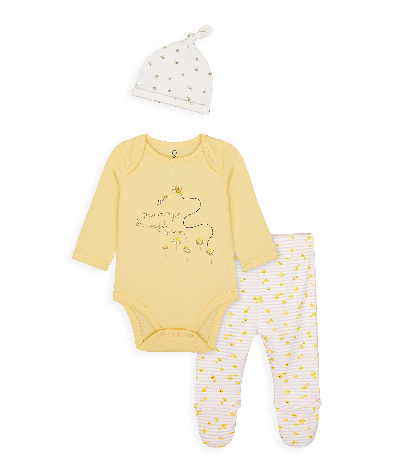 Mothercare | Girls Full Sleeves 3 Piece Set Bee Print And Embroidery - Yellow