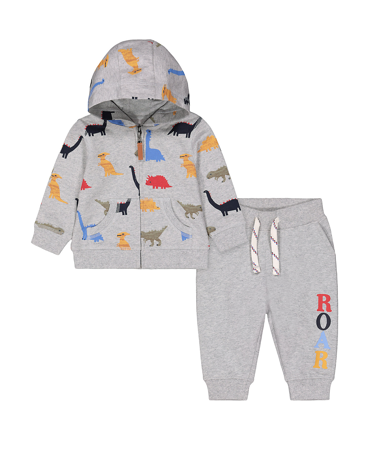 Mothercare | Boys Full Sleeves Jog Set Dino Print - Grey