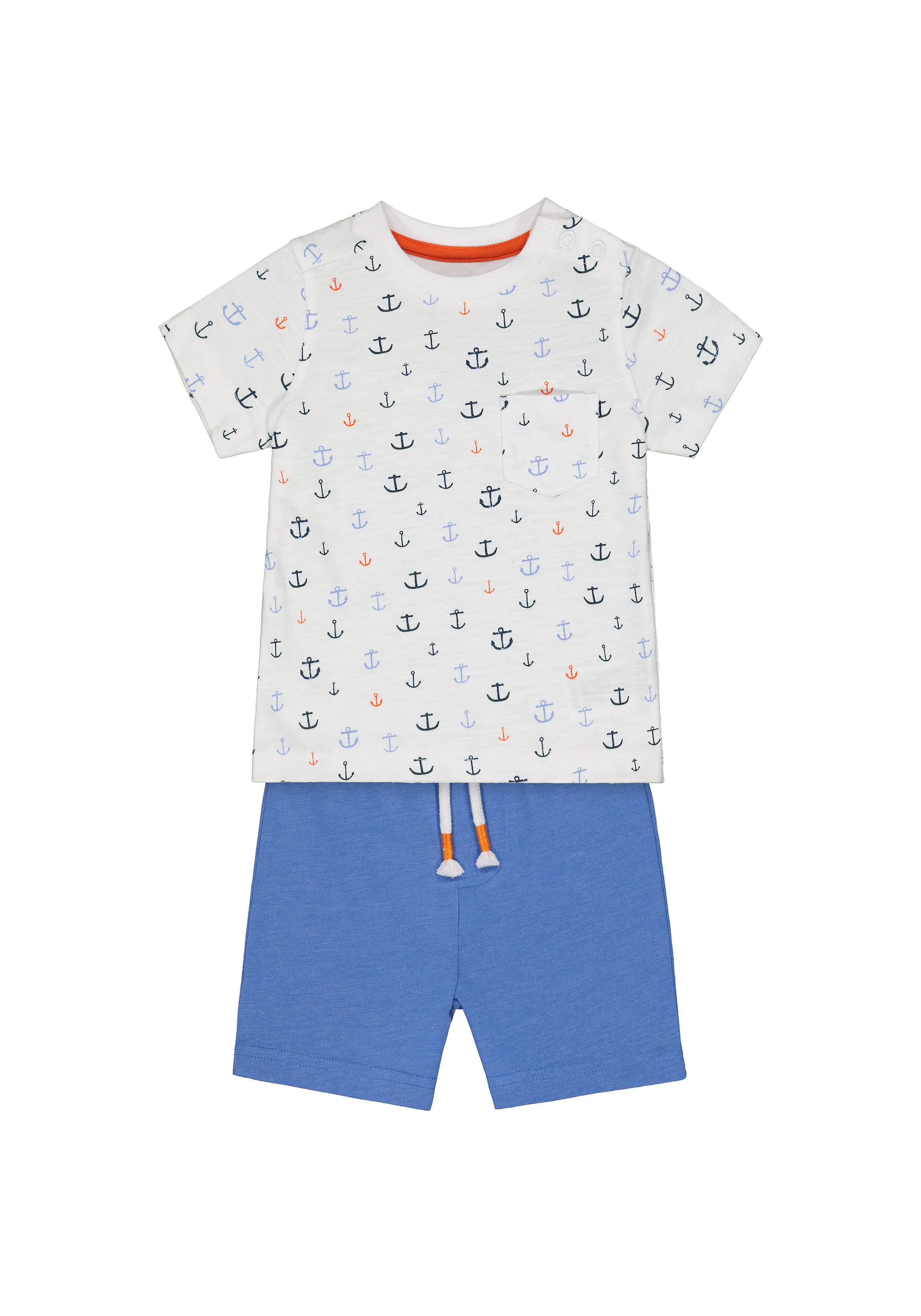 Mothercare | Boys Half Sleeves T-Shirt And Shorts Set Anchor Print - Multicolor