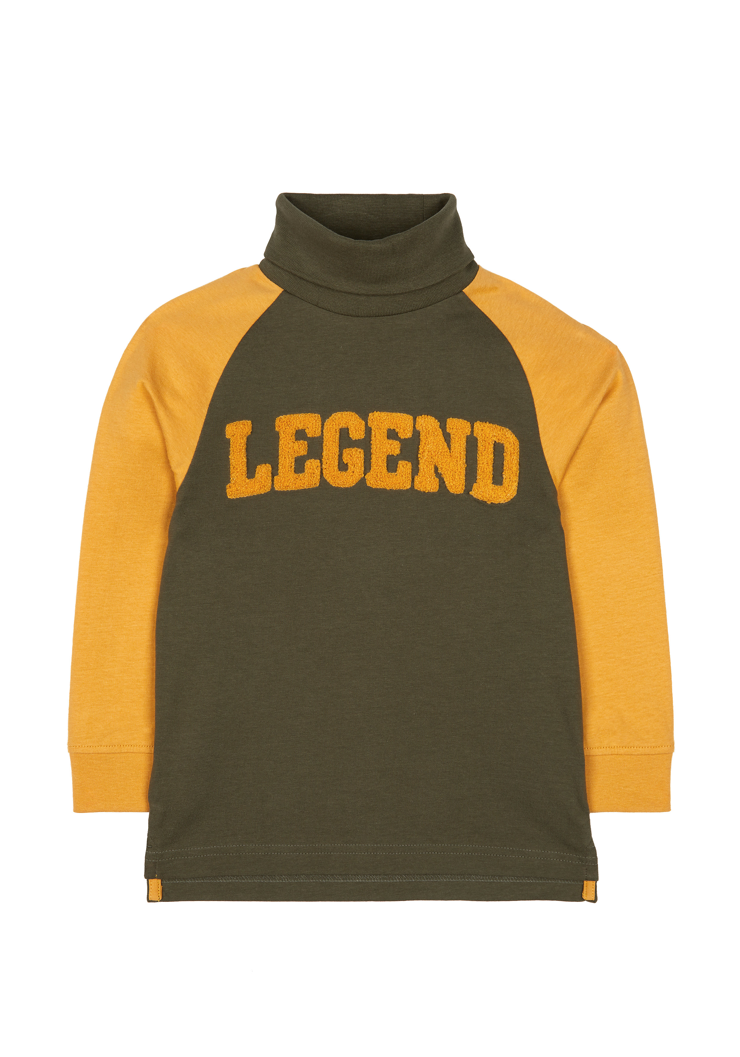 Mothercare | Boys Full Sleeves Roll Neck T-Shirt Text Patchwork - Mustard