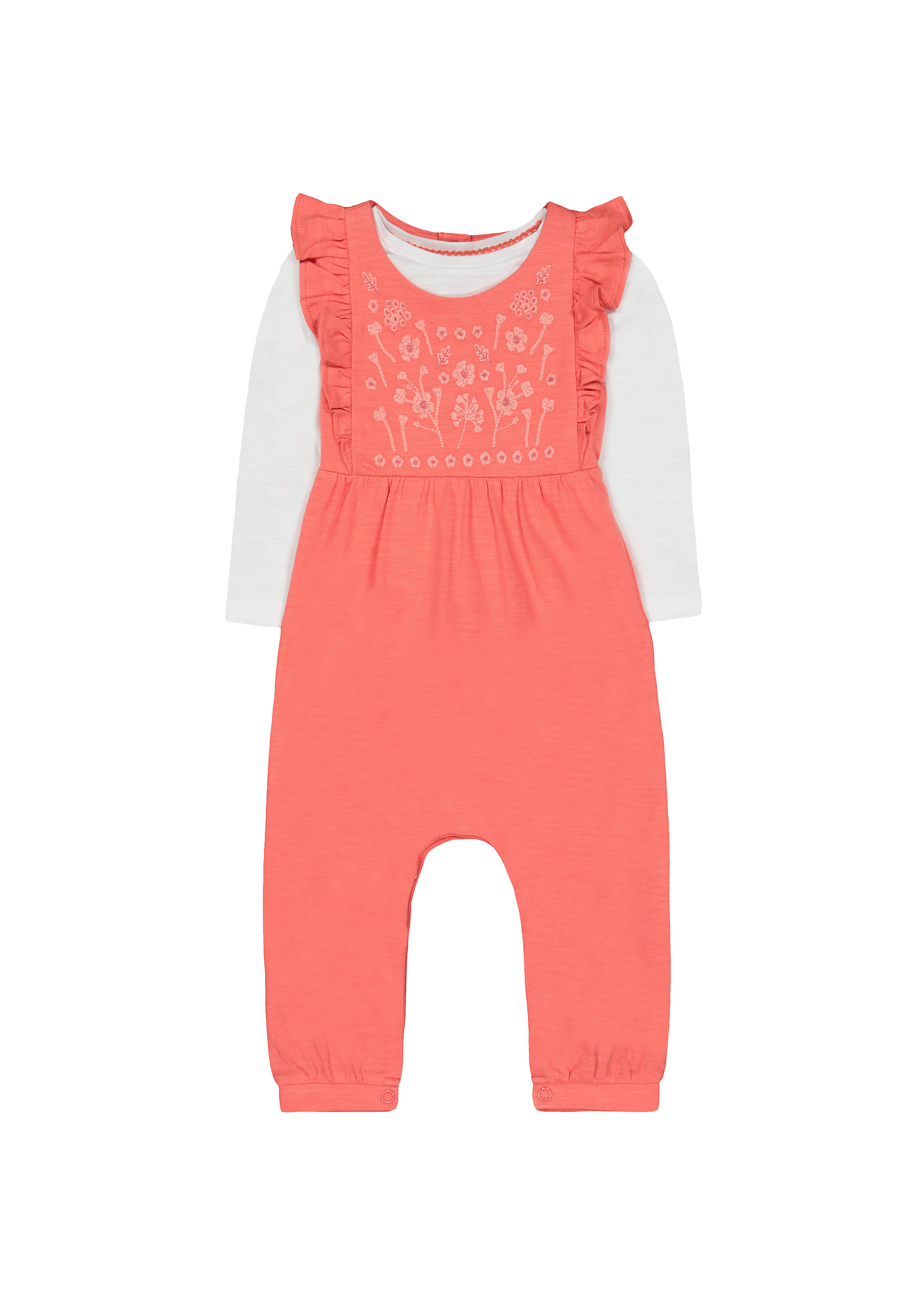 Mothercare   Girls Full Sleeves Dungaree Set Floral Embroidery - Coral