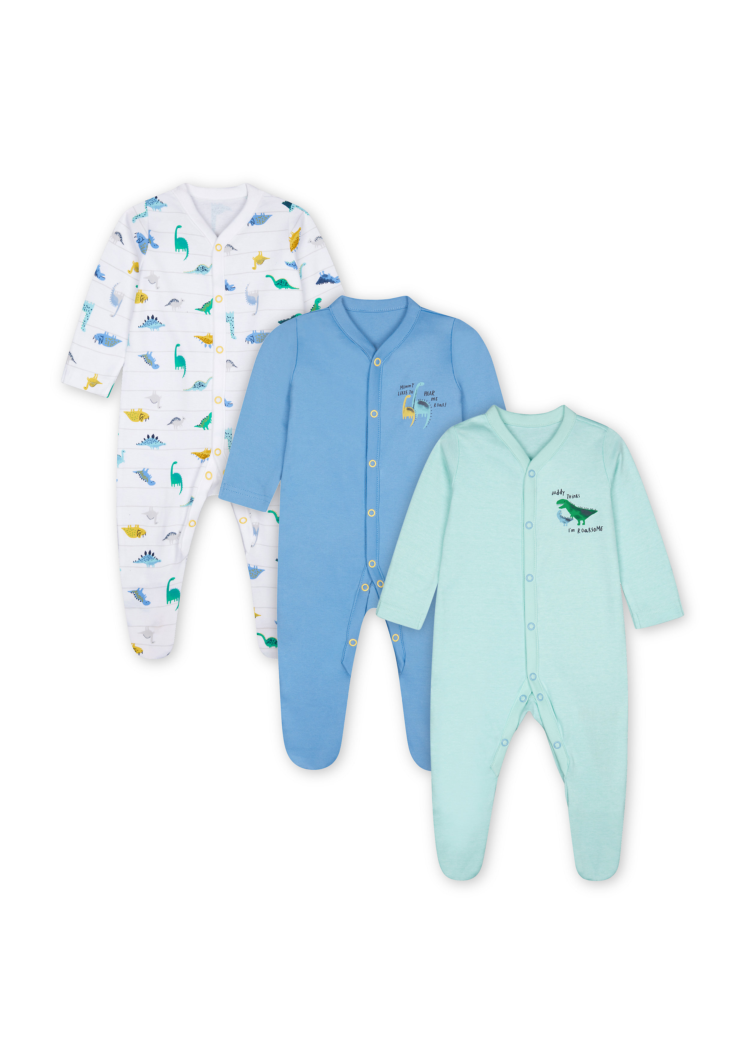 Mothercare   Boys Full Sleeves Sleepsuit Dino Print - Pack Of 3 - Blue