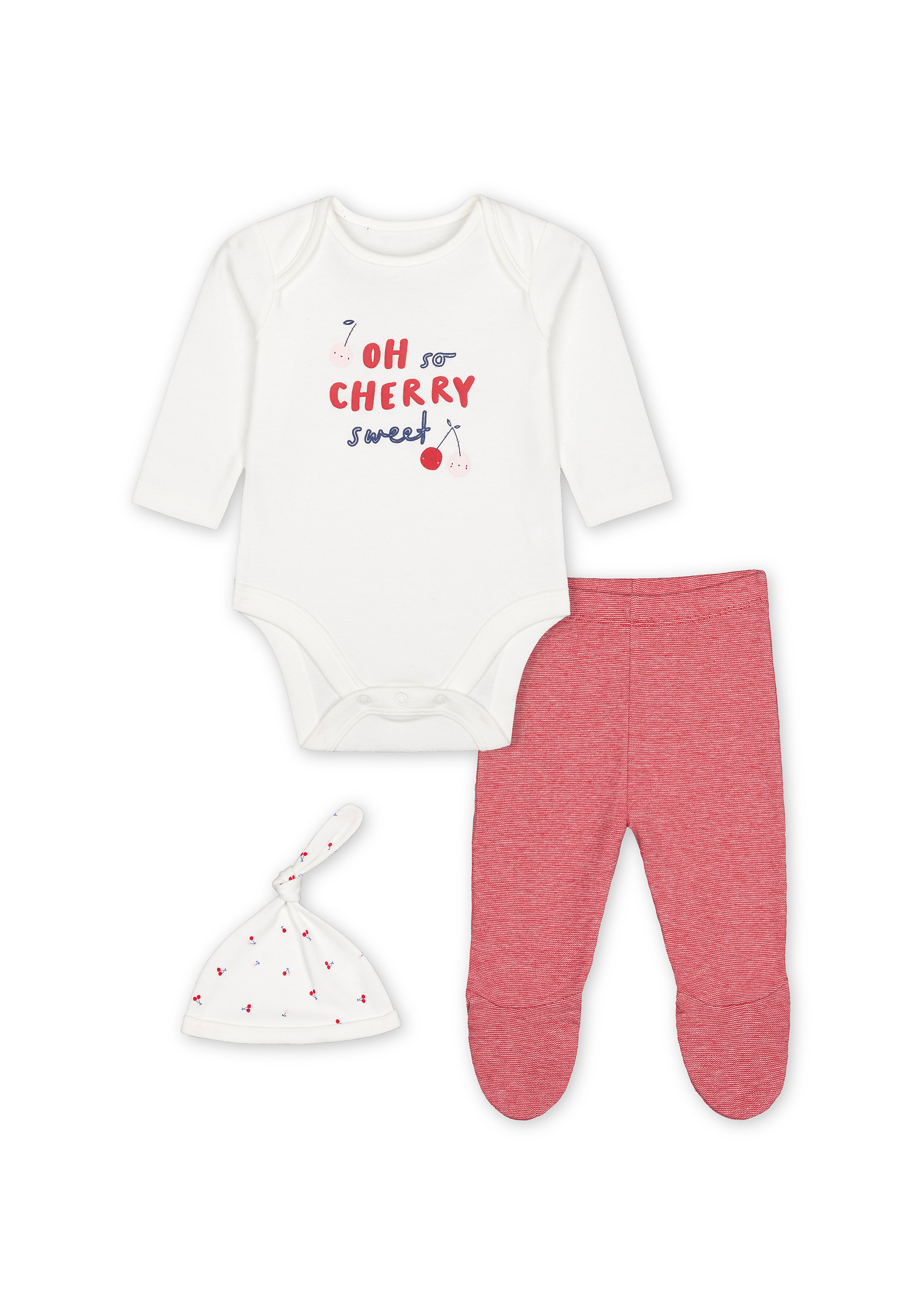 Mothercare | Girls Full Sleeves 3 Piece Set Text Print - Pink