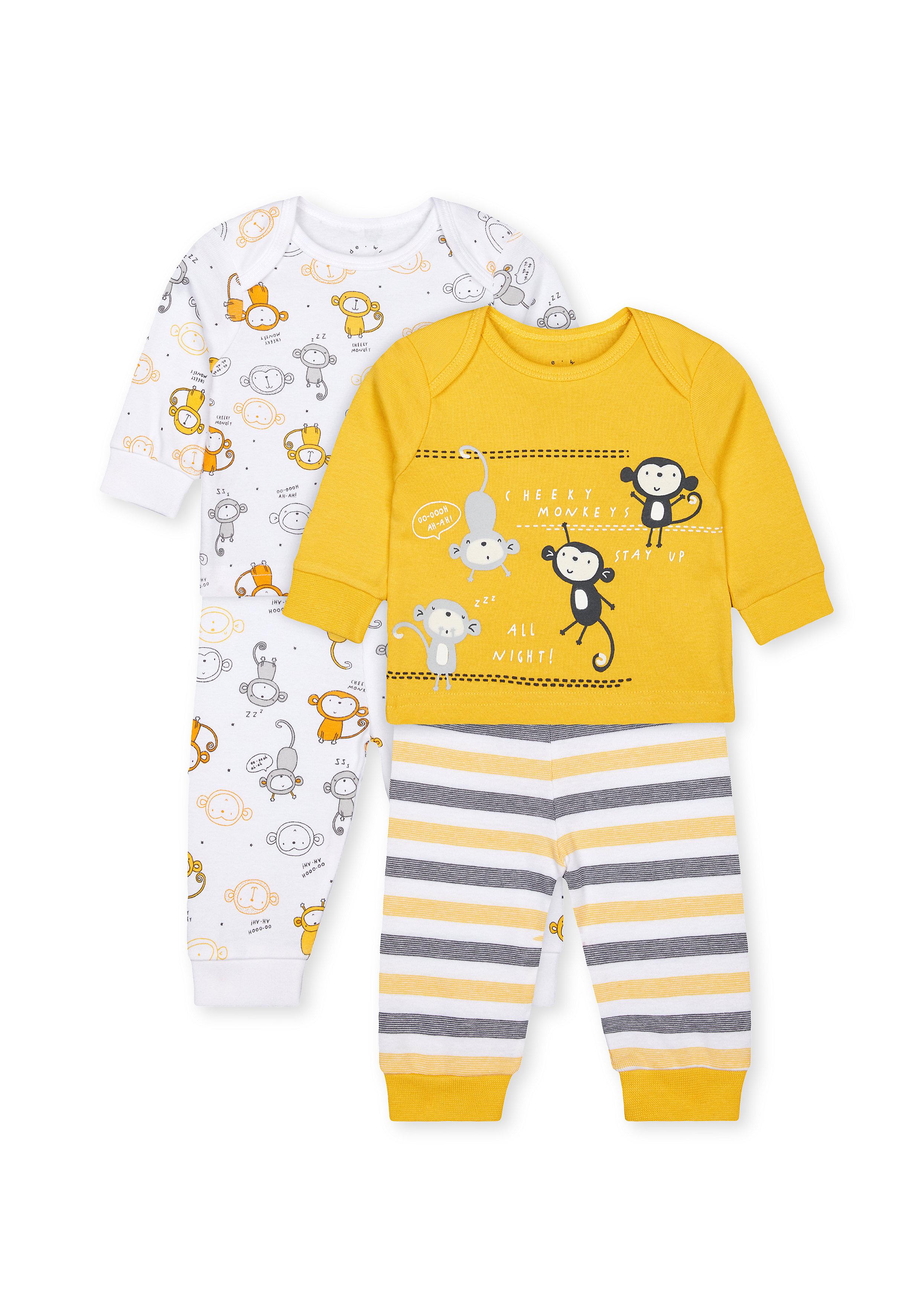 Mothercare | Boys Full Sleeves Pyjama Set Monkey Print - Pack Of 2 - Yellow