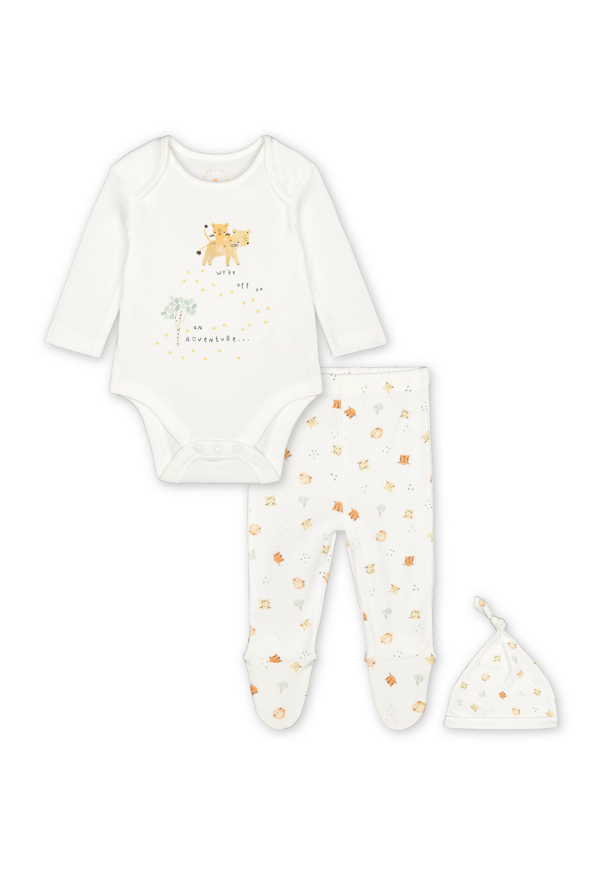 Mothercare | Unisex Full Sleeves 3 Piece Set Animal Print - Cream