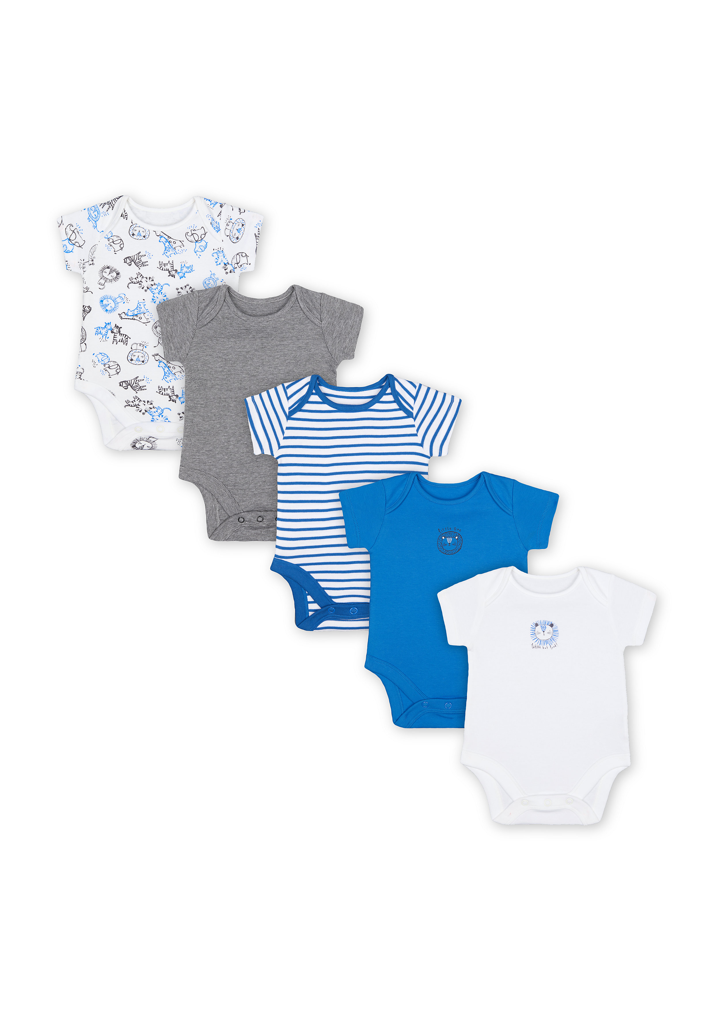 Mothercare | Boys Half Sleeves Bodysuit Striped And Animal Print - Pack Of 5 - Multicolor