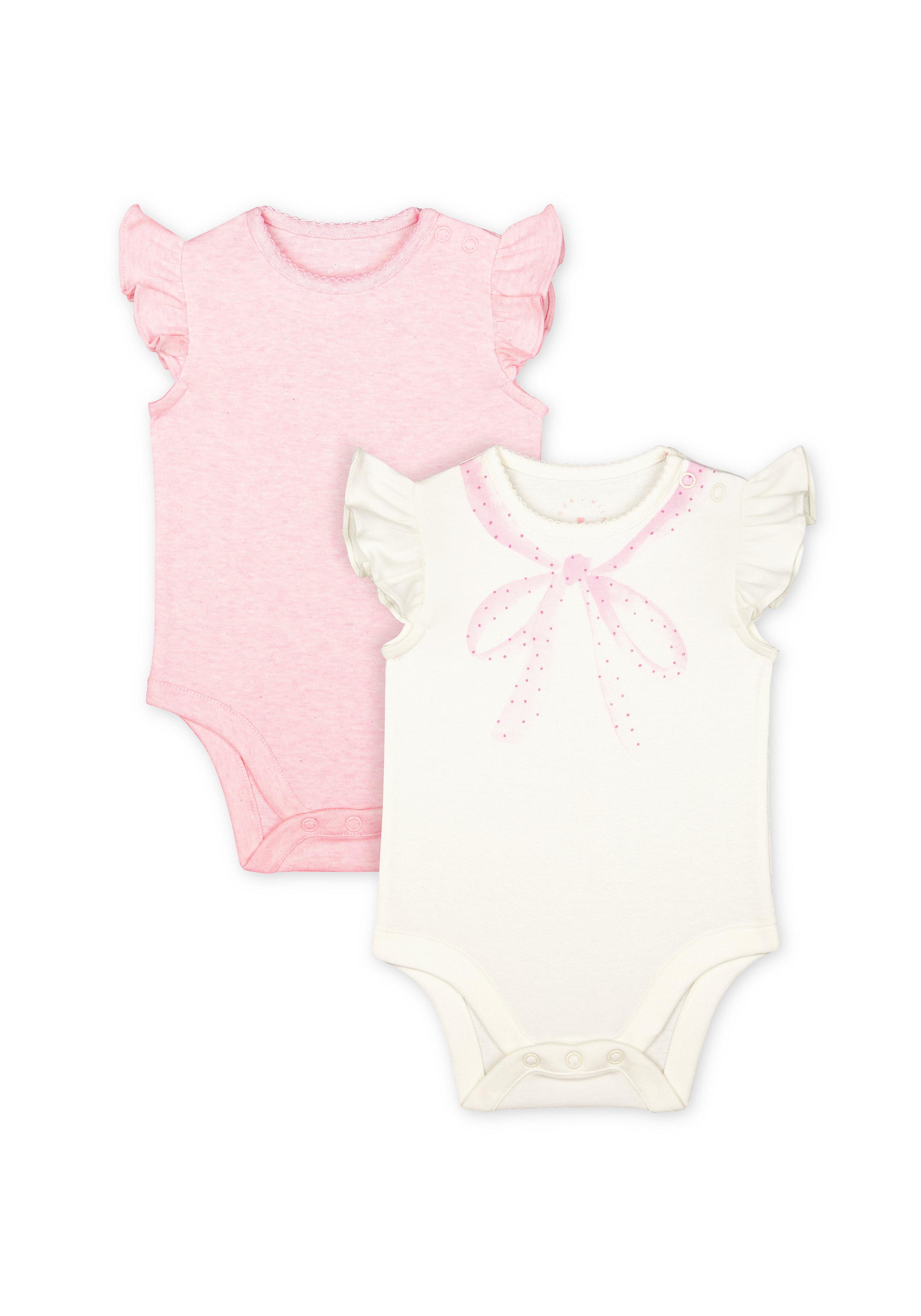 Mothercare   Girls Half Sleeves Bodysuit Neckline Print - Pack Of 2 - Pink