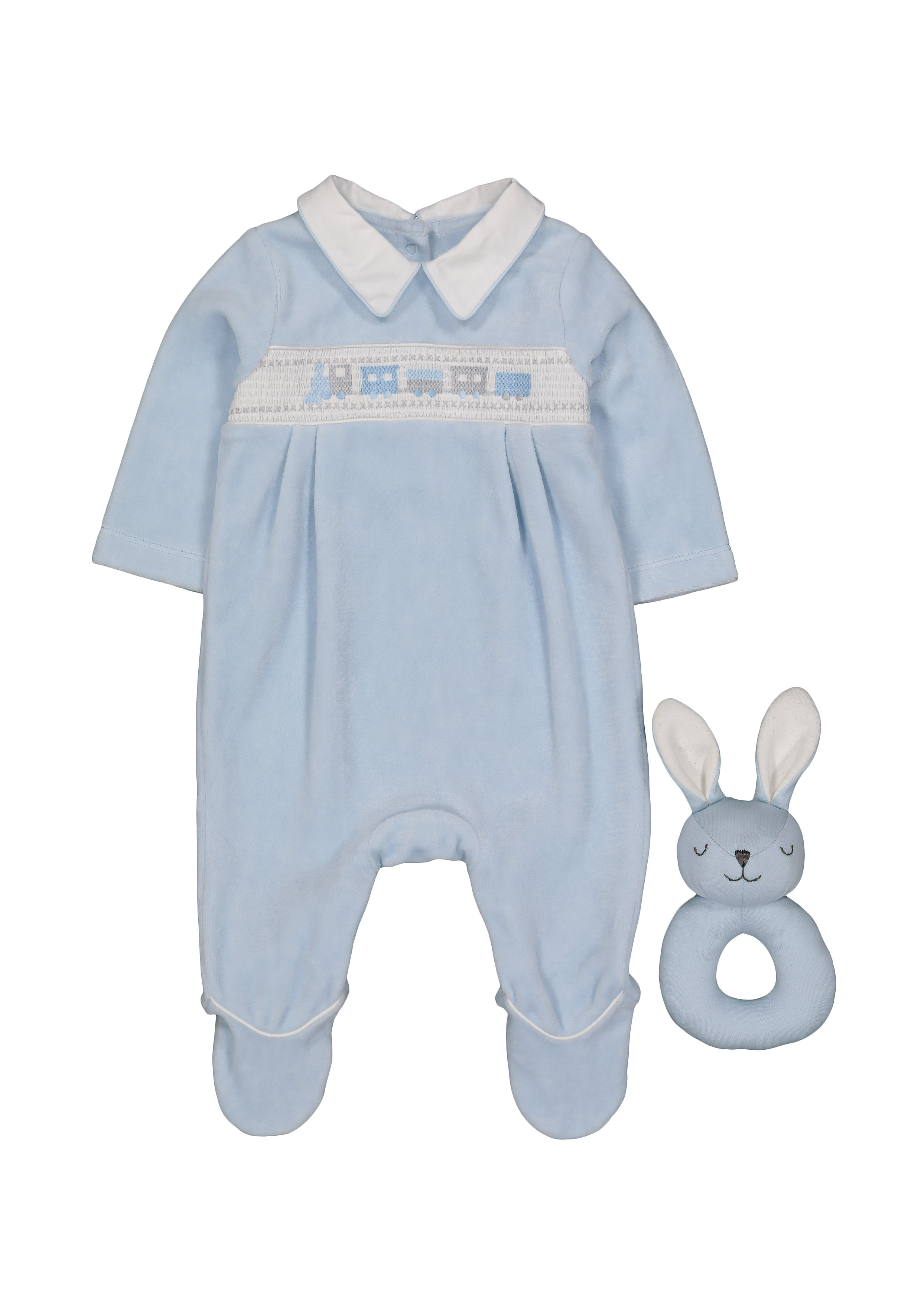 Mothercare | Boys Full Sleeves Romper Animal Embroidery - Blue
