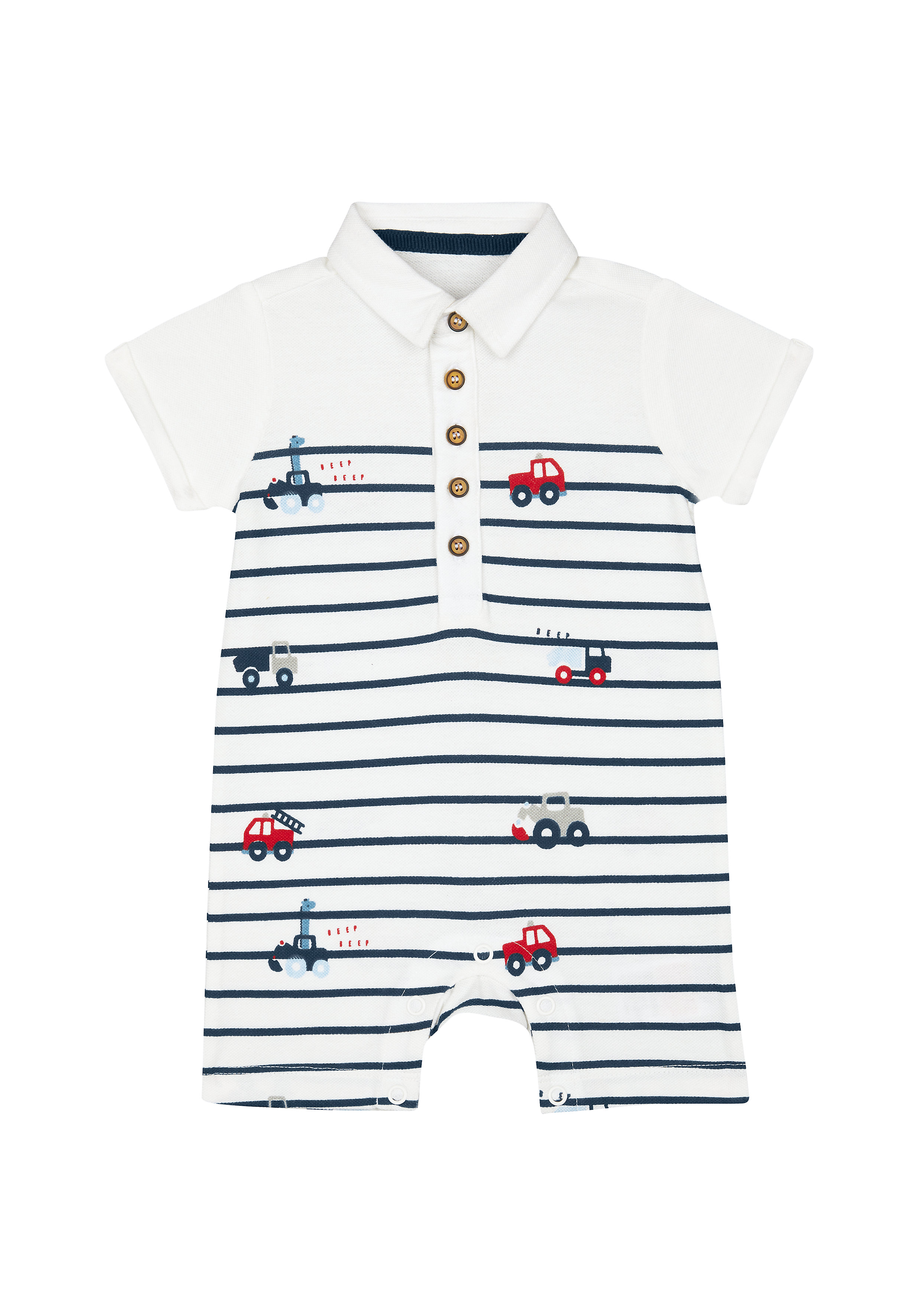 Mothercare | Boys Half Sleeves Polo Style Romper Vehicle Print - White
