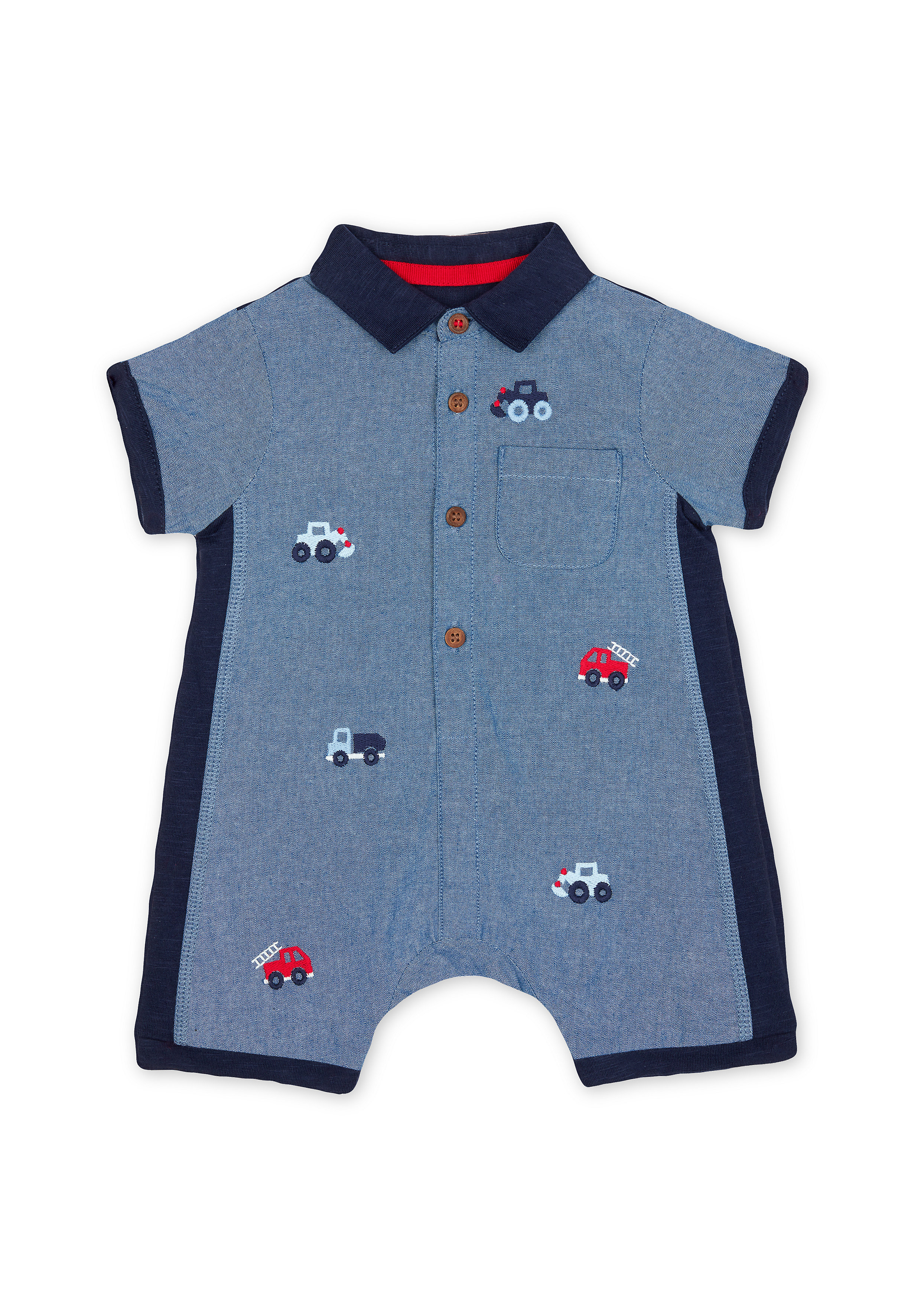 Mothercare | Boys Half Sleeves Romper Vehicle Embroidery - Navy