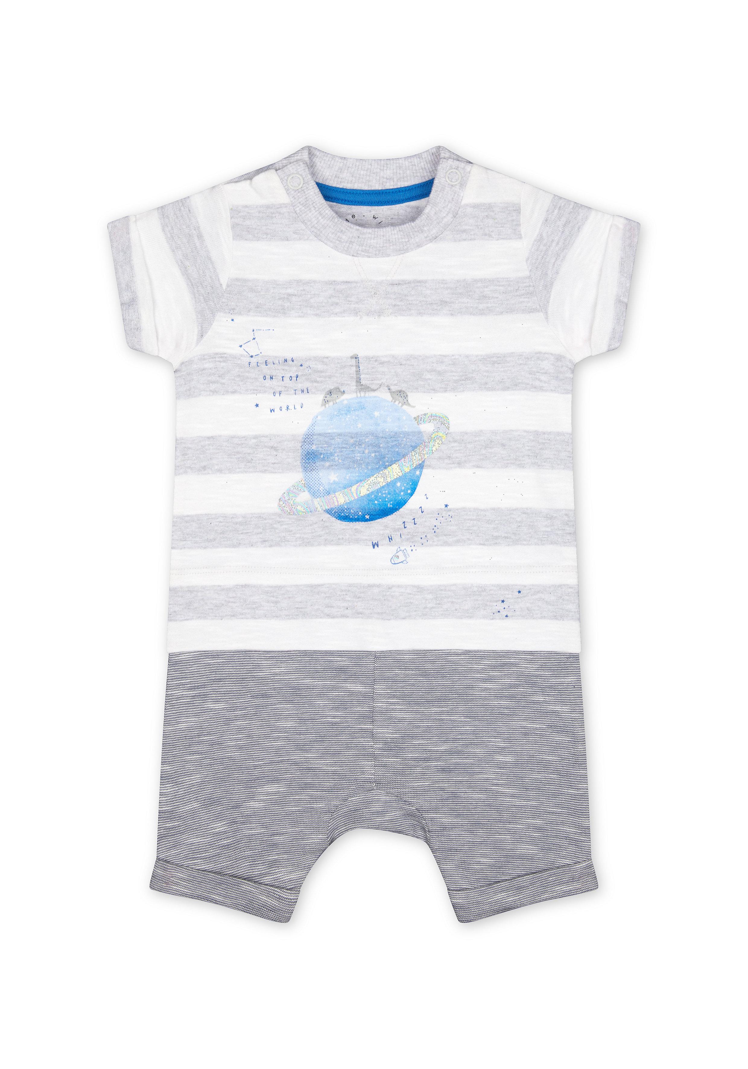 Mothercare | Boys Half Sleeves Mock Romper Space Dino Print - Grey