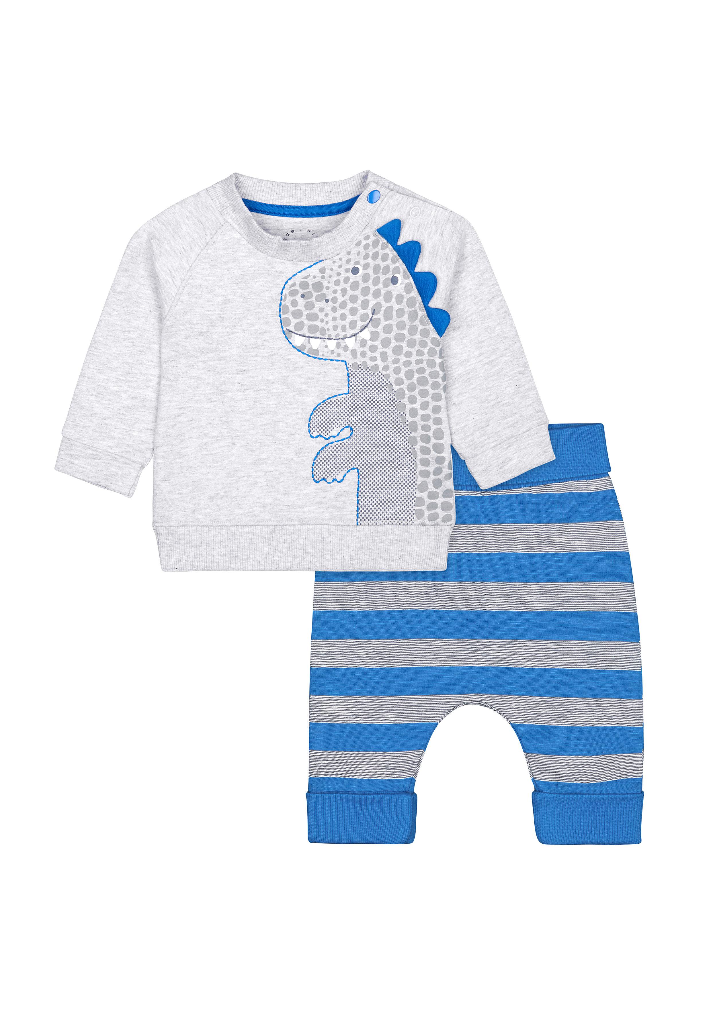 Mothercare | Boys Full Sleeves Jog Set 3D Dino Spikes - Blue