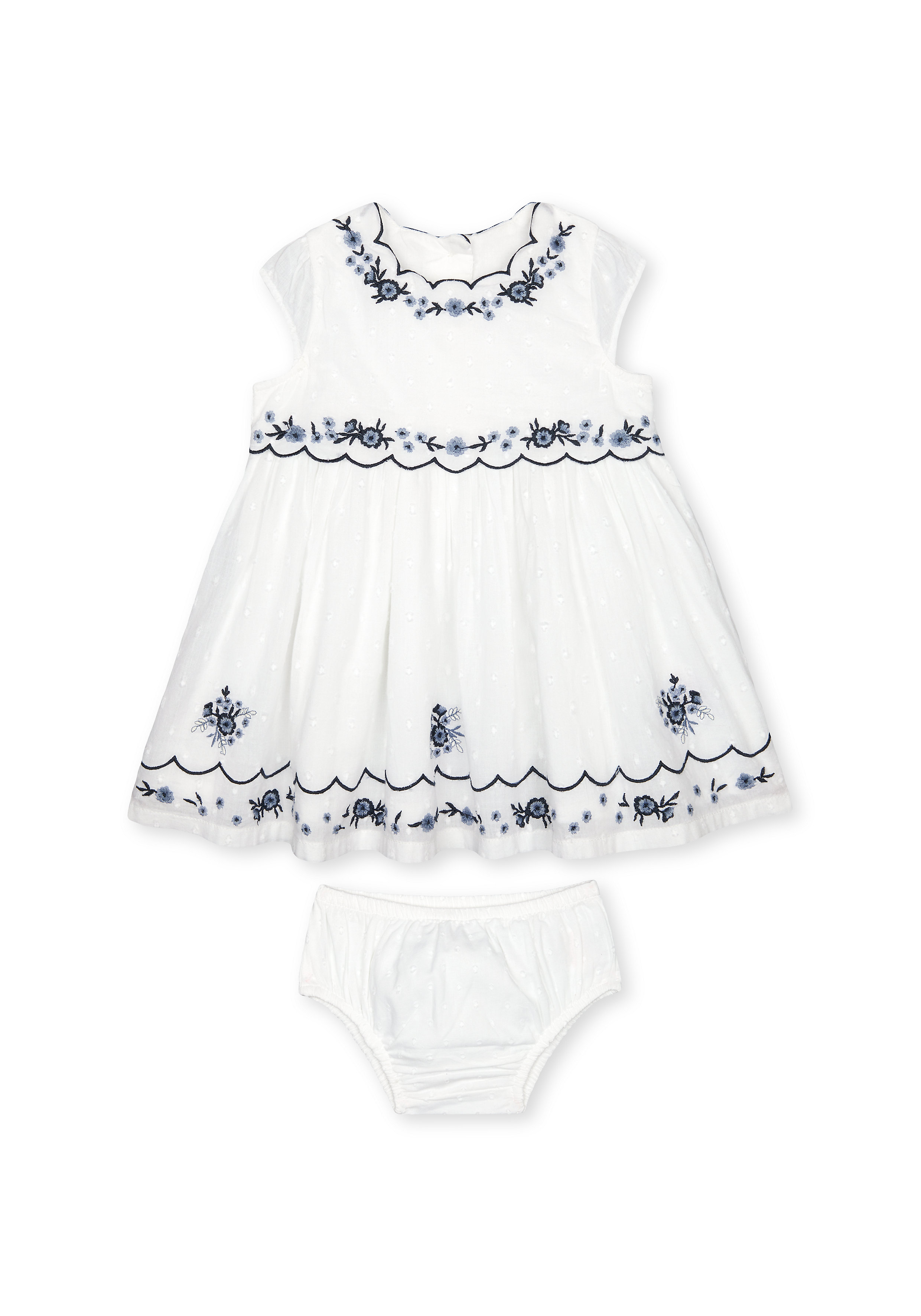 Mothercare | Girls Half Sleeves Dress And Knickers Set Floral Embroidery - White