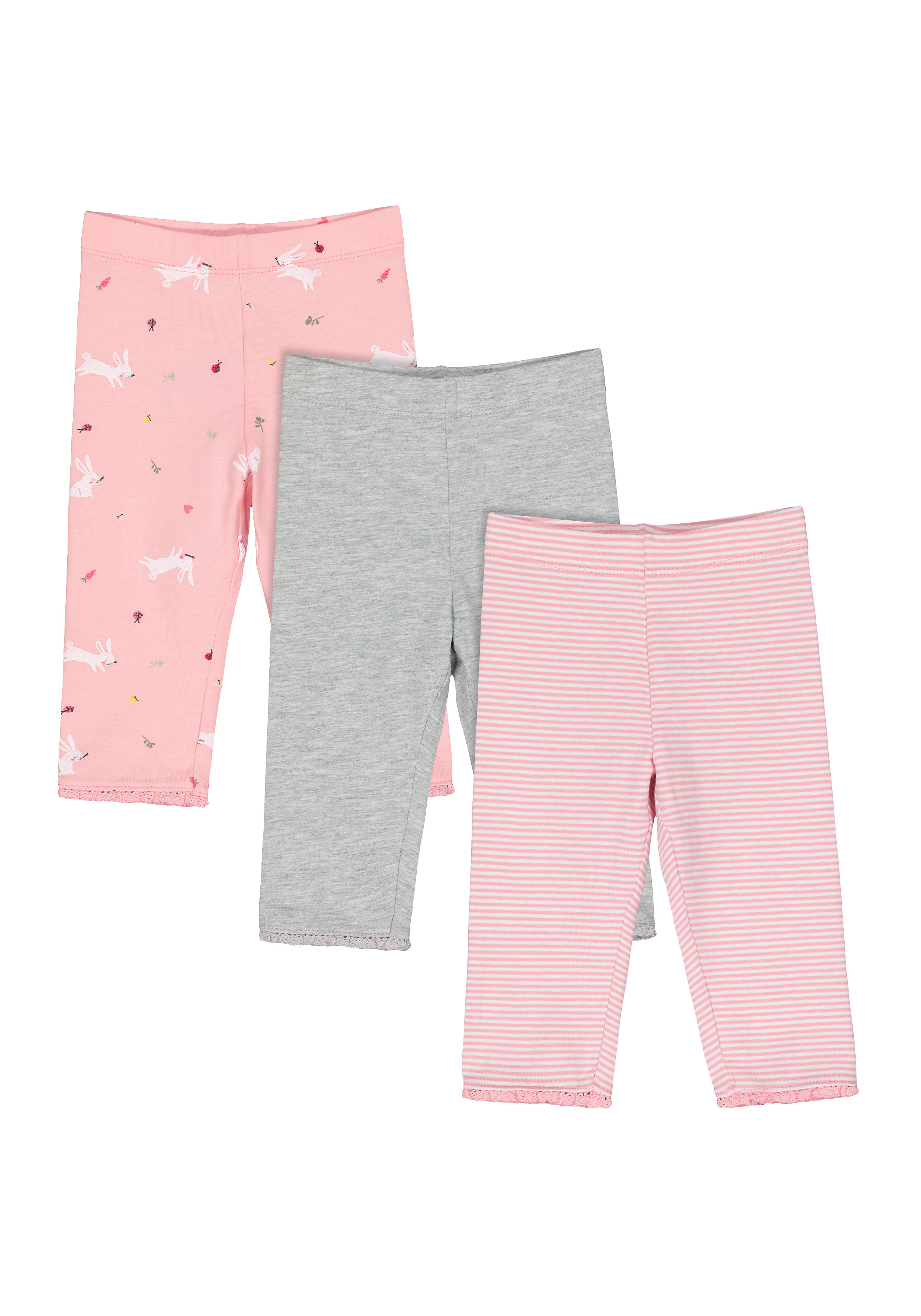 Mothercare   Girls Leggings Striped And Bunny Print - Pack Of 3 - Multicolor