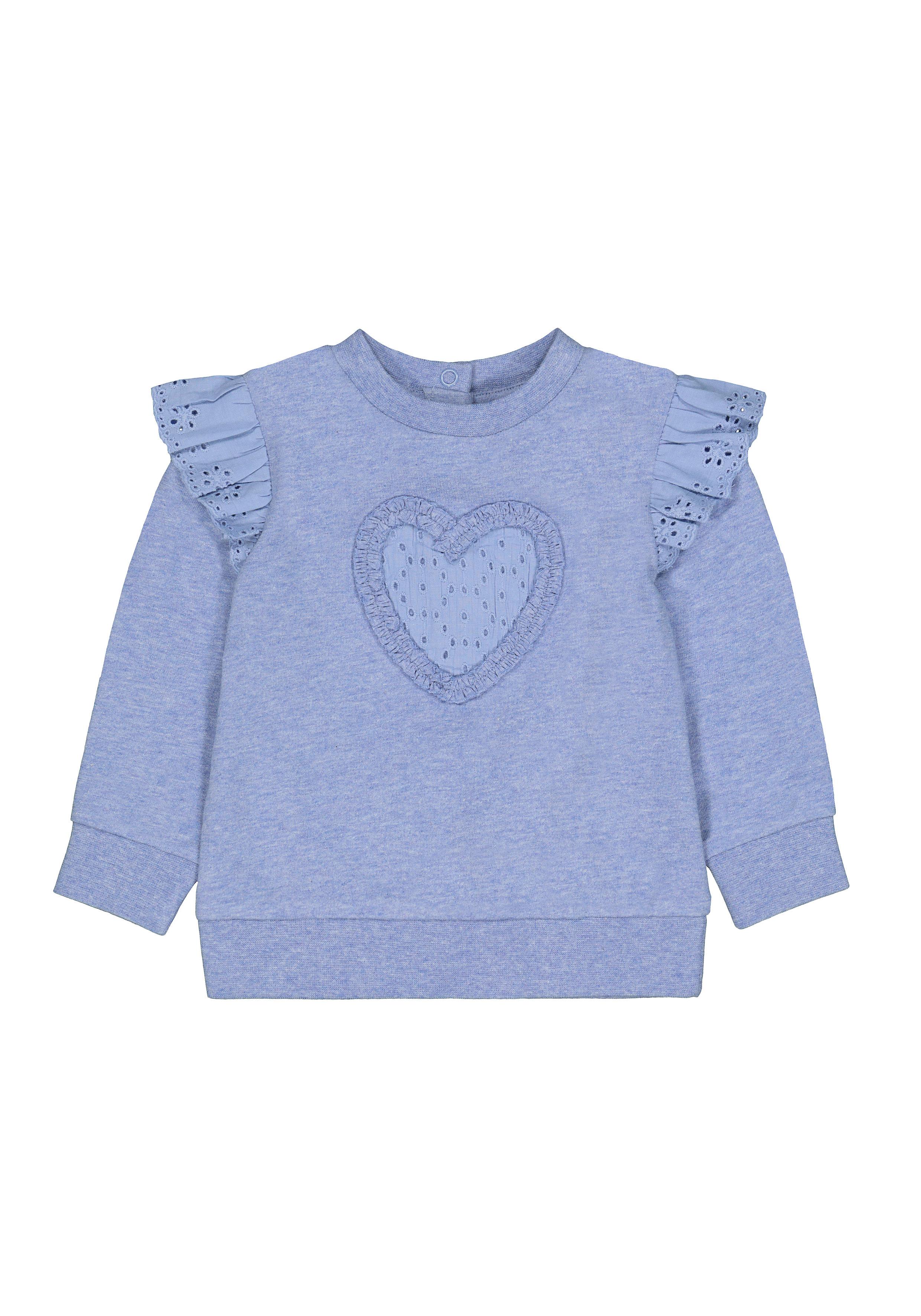 Mothercare | Girls Full Sleeves Sweatshirt Heart Patchwork - Blue