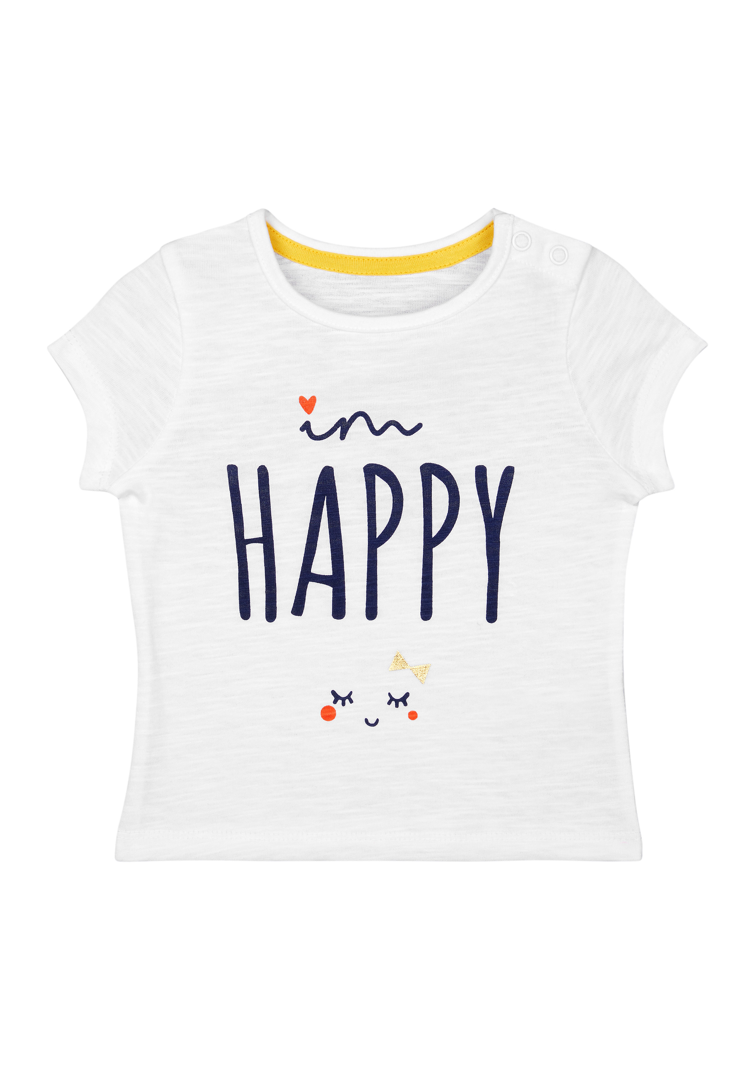 Mothercare | Girls Half Sleeves T-Shirt Text Print - White