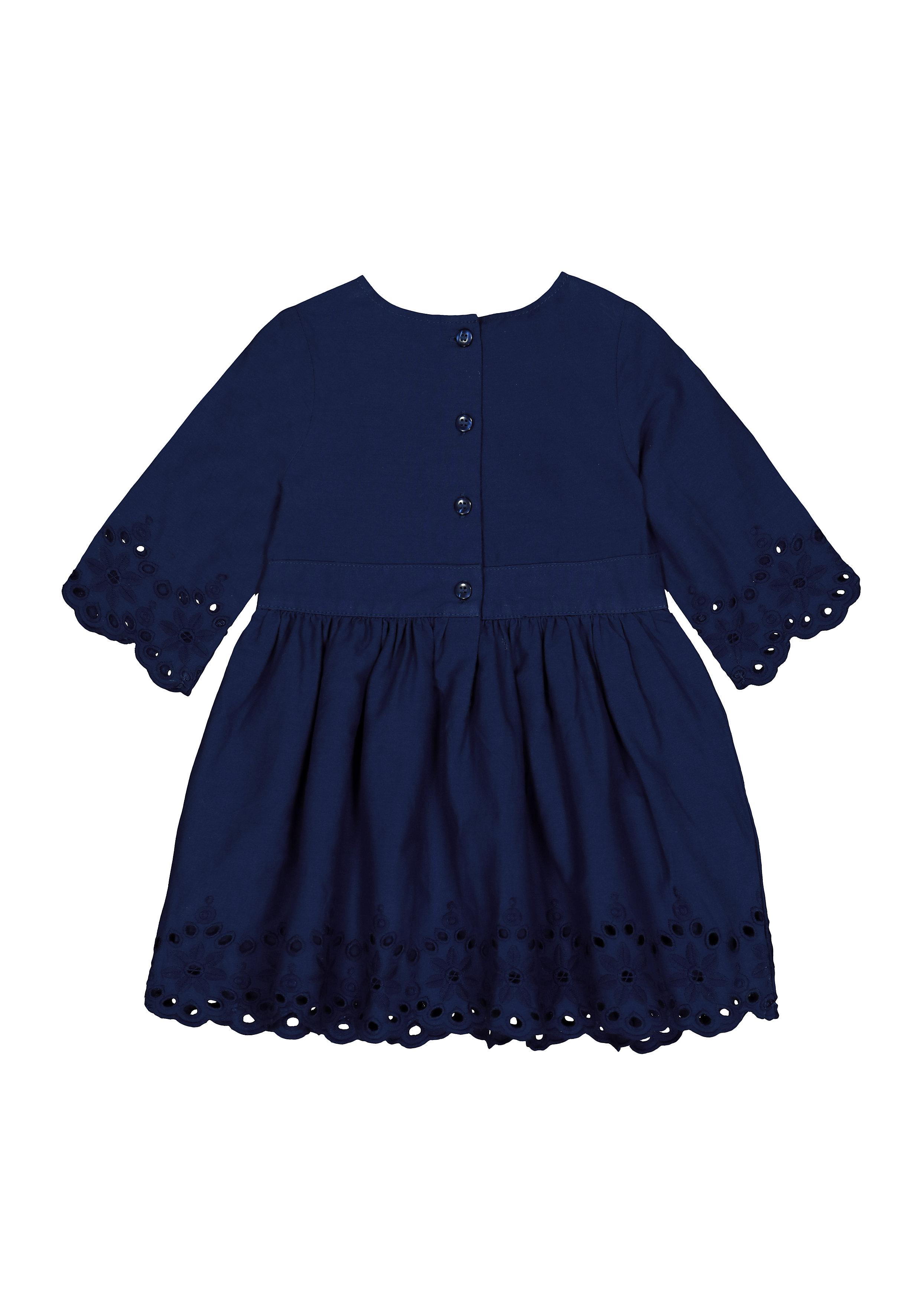 Mothercare | Girls Full Sleeves Schiffli Dress - Navy
