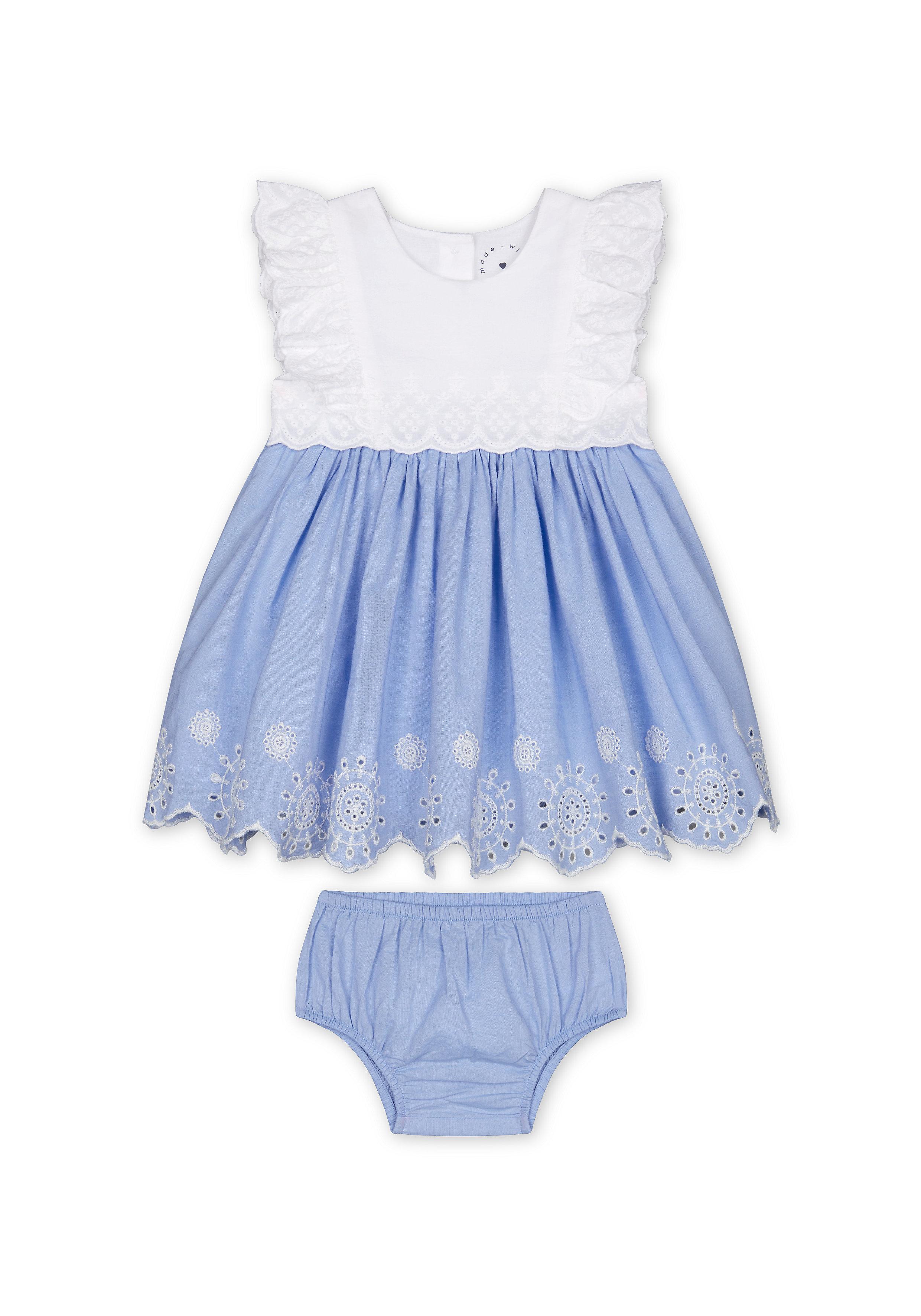 Mothercare   Girls Sleeveless Dress And Knickers Set Schiffli Detail - Blue