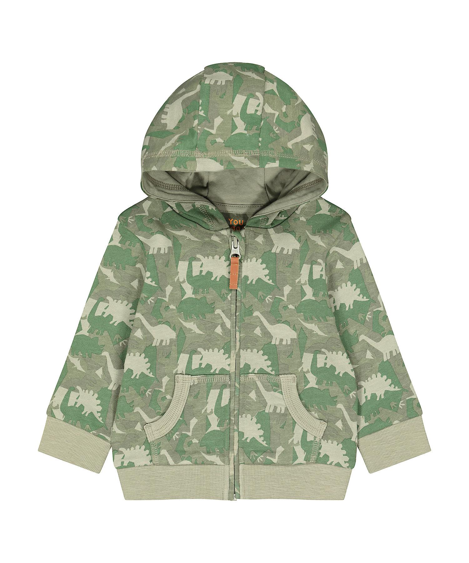 Mothercare   Boys Full Sleeves Hooded Sweatshirt Dino Print - Khaki